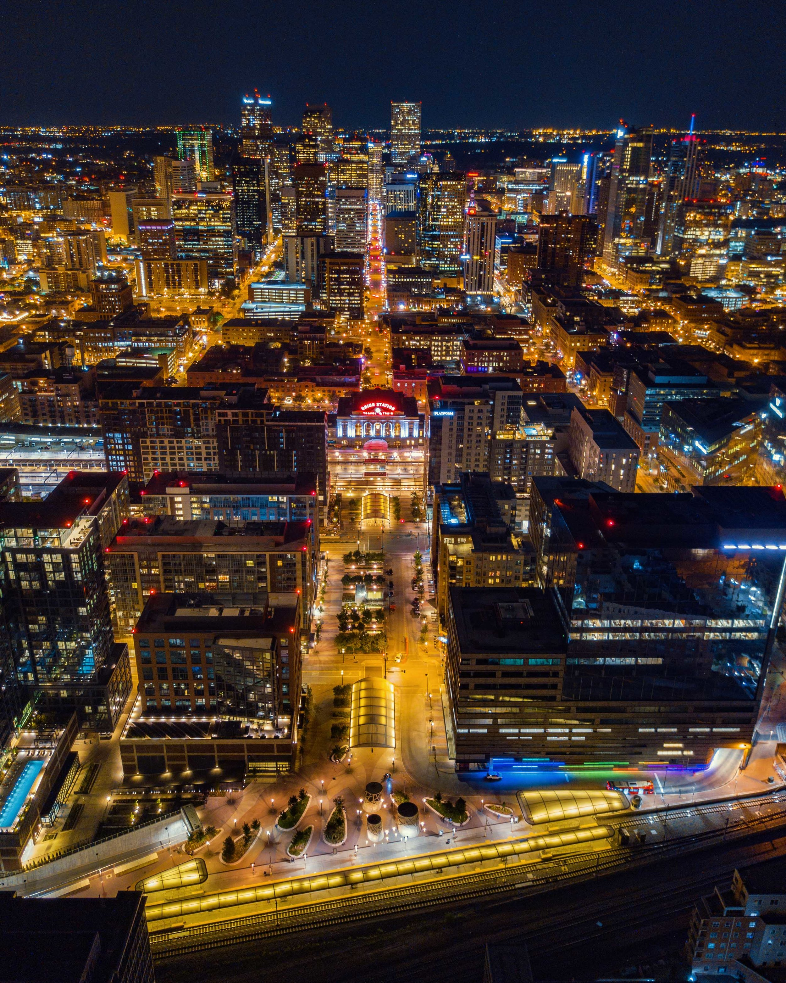 Union Station Denver Colorado Night Drone Aerial