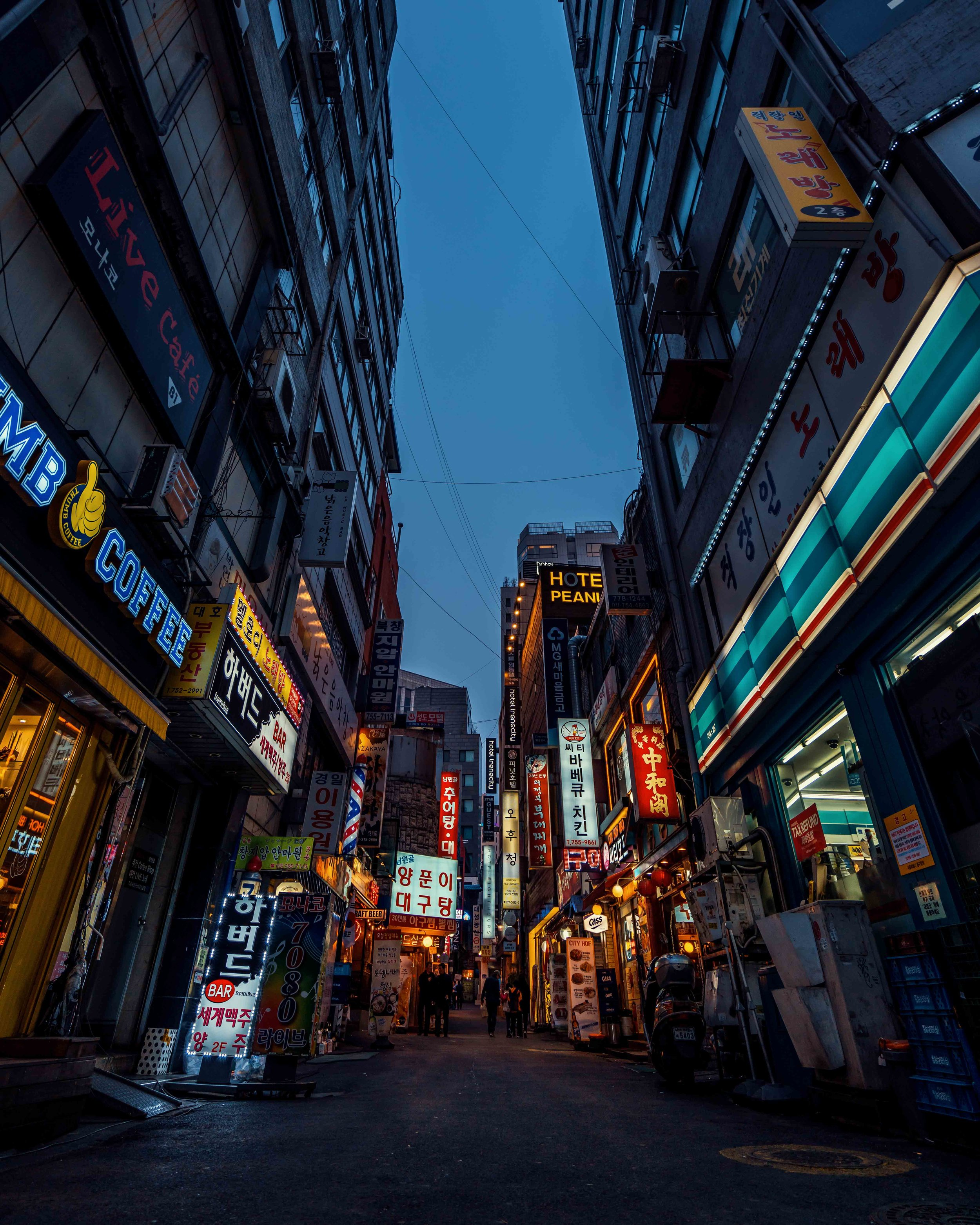 Streets of Seoul South Korea Night Blue Hour Korean Signs Alley