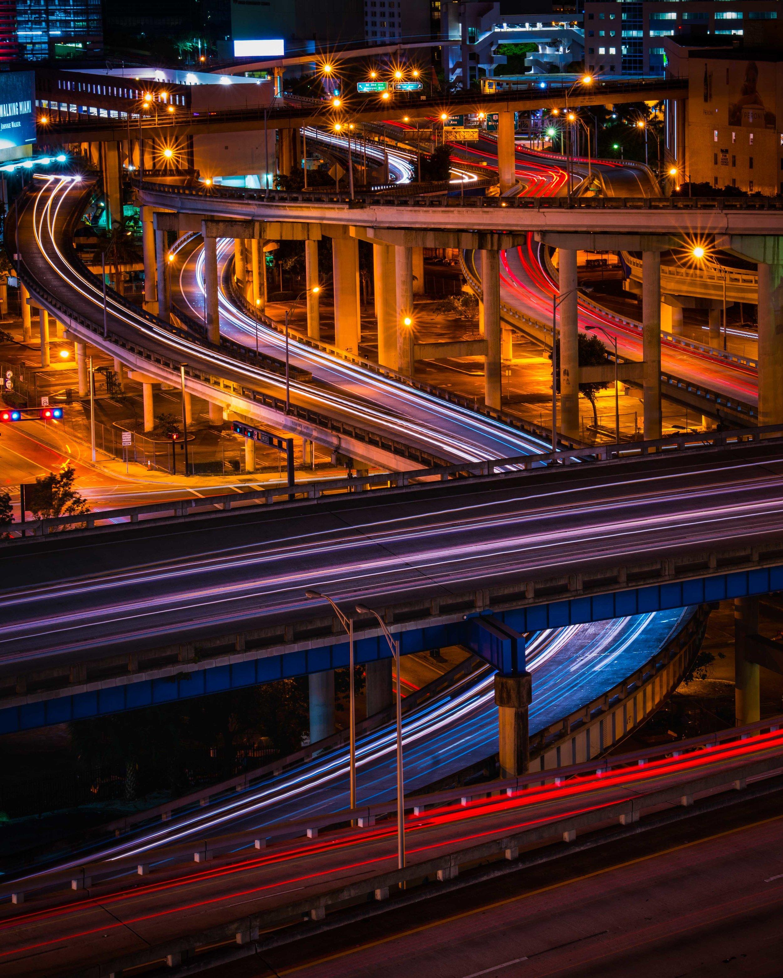 Seoul South Korea Streets Long Exposure Highway Bridges