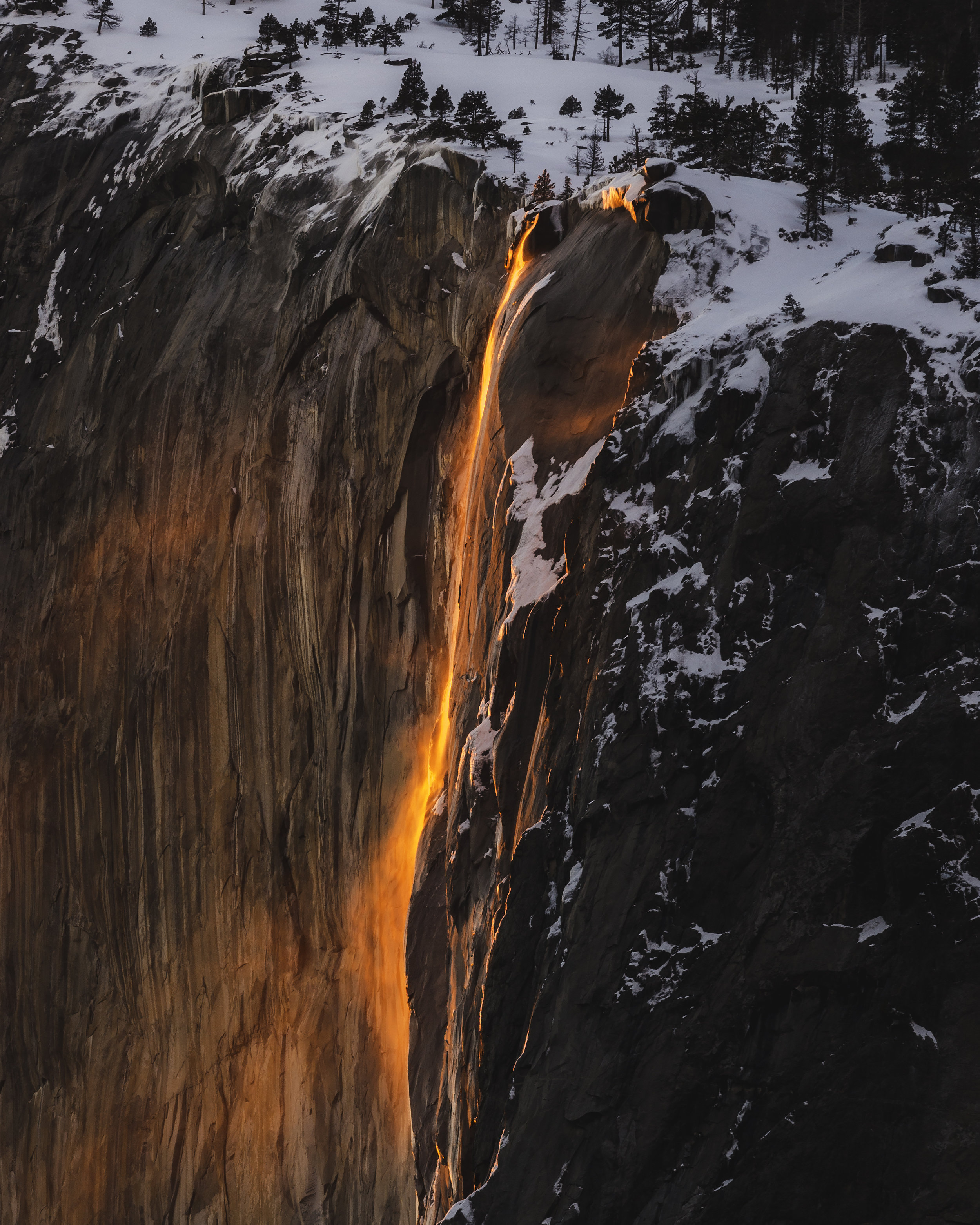 Yosemite Firefall National Park Horsetail Fall Winter February