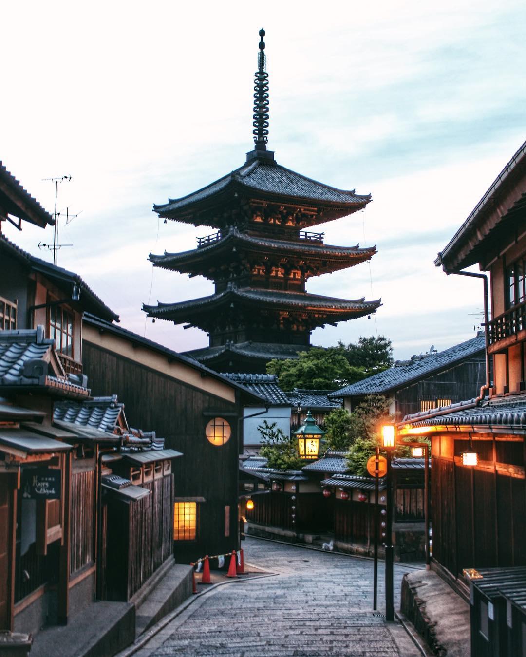 Kyoto Temple Japan Daylight Sky Lights