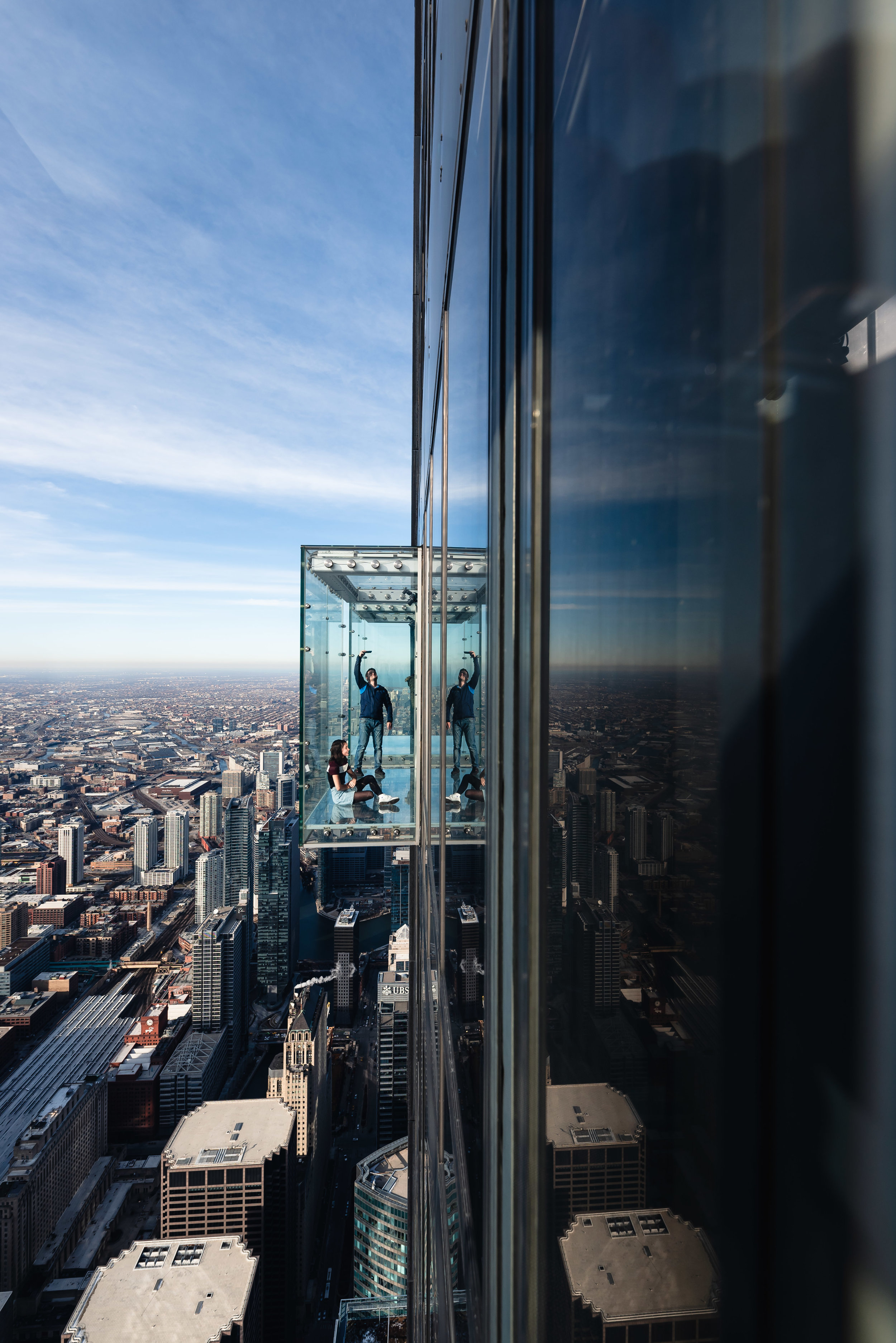 Chicago Willis Tower Sears Tower Cloudy Reflection City Illinois Sky Deck Sky Box Selfie