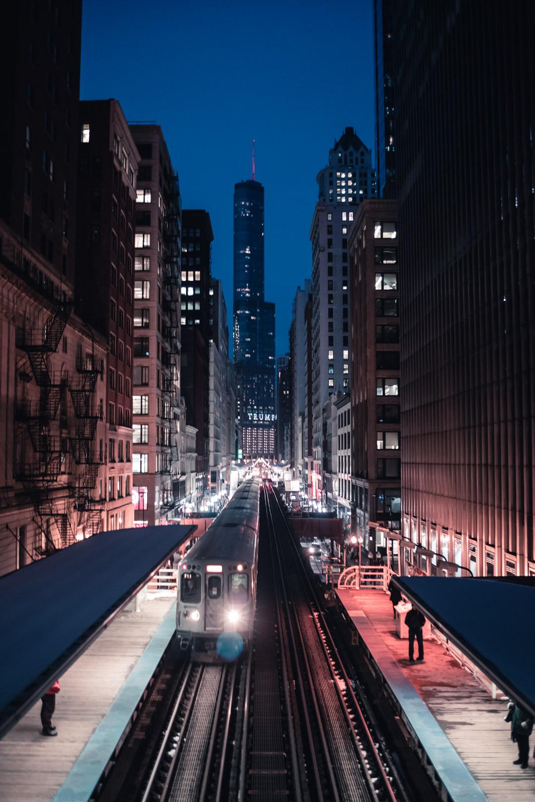 Chicago Adams and Wabash CDOT Pedestrian Bridge View Trump International Hotel Blue Hour City Illinois Skyline