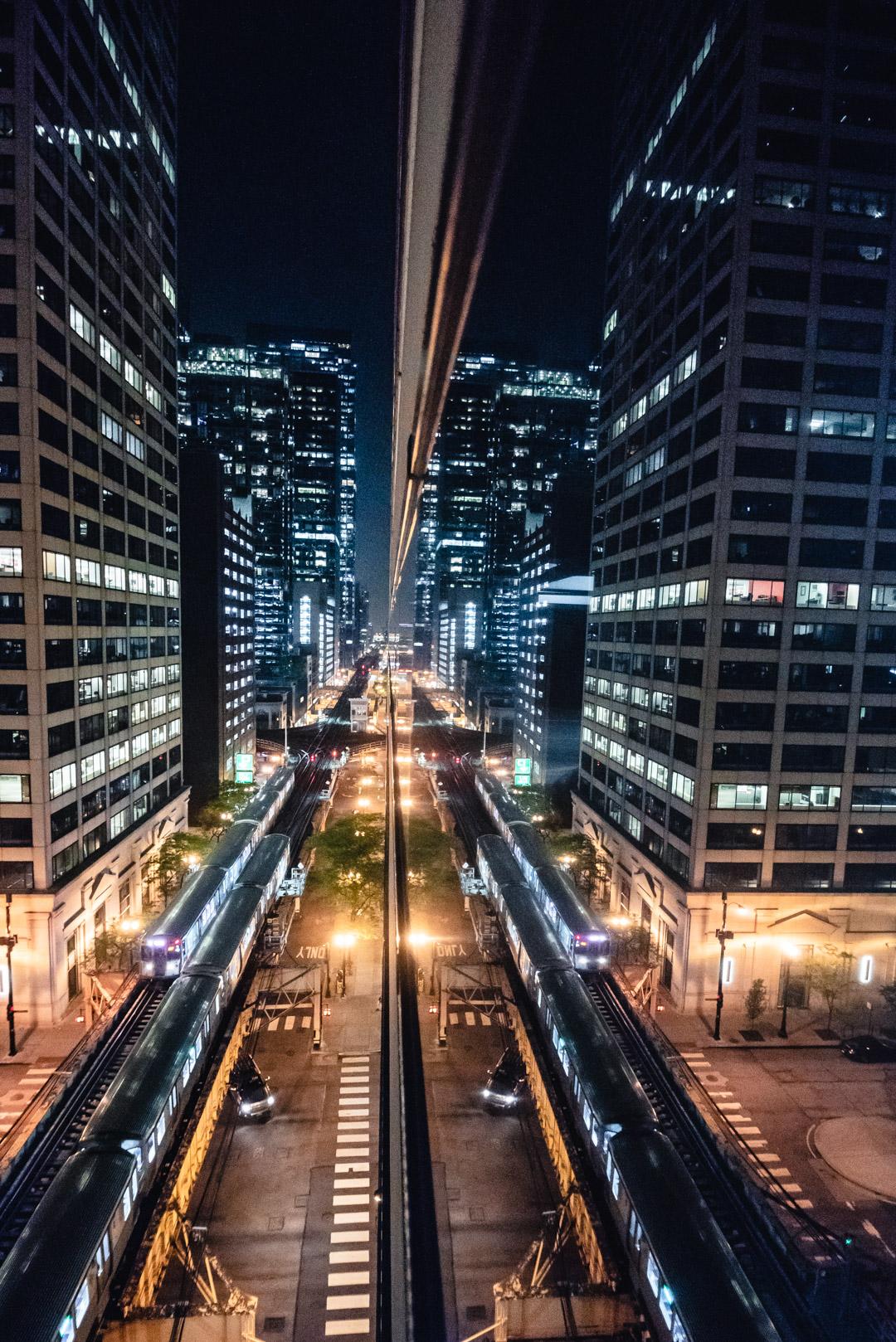 Chicago 200 N Clark St Parking Garage Self Park Deck View Blue Hour Sunset City Illinois Skyline Reflection