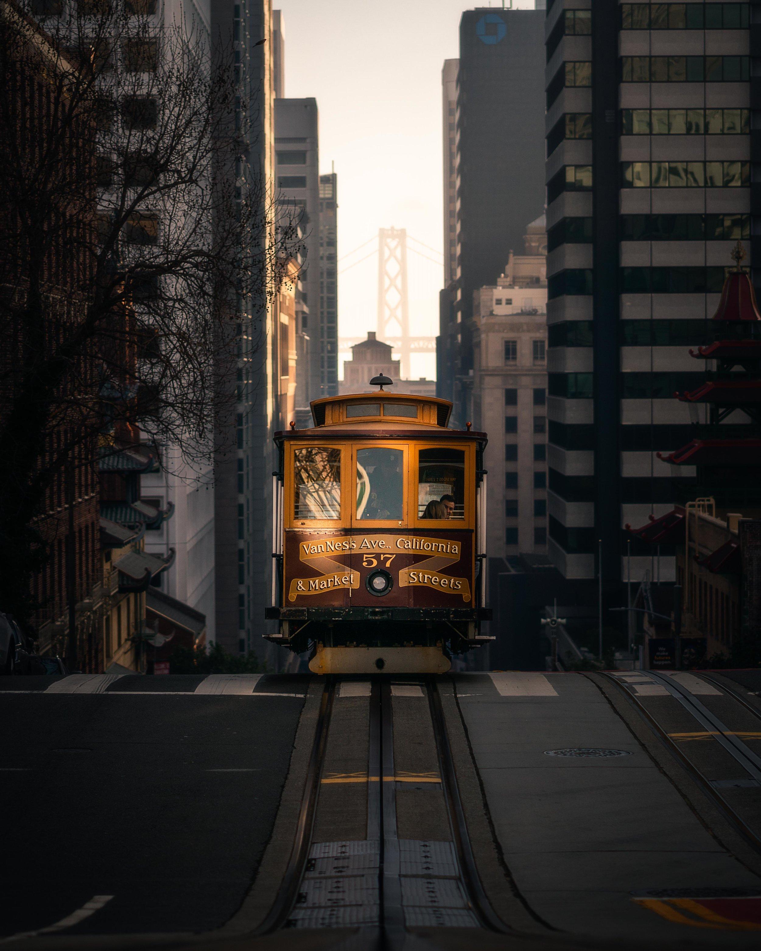 Golden Gate Bridge San Francisco Trolley Street Car California Street Sunset Sunrise Golden Hour