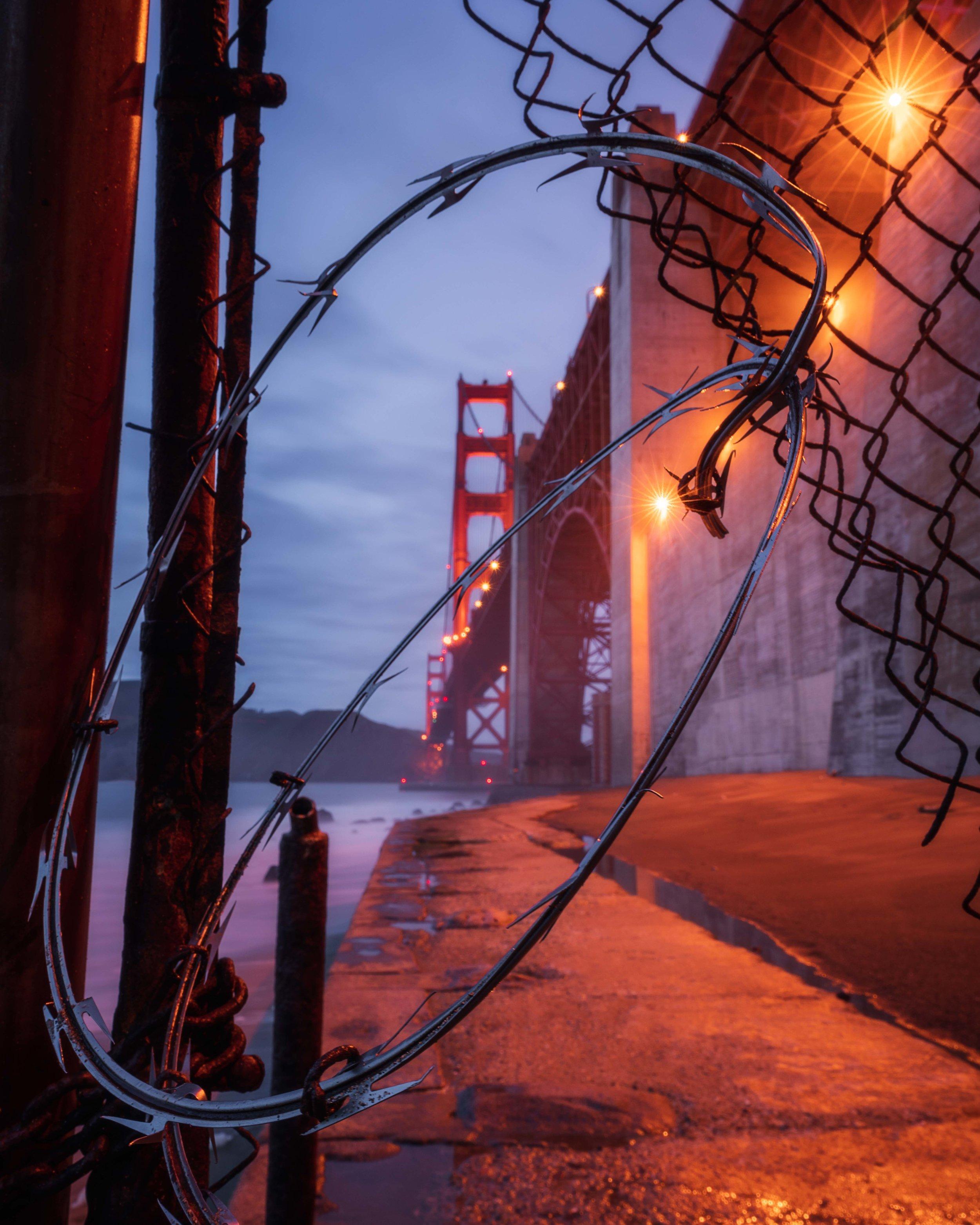 Golden Gate Bridge San Francisco California Sunset Sunrise Golden Hour Blue Hour Beach Barbed Wire Fence