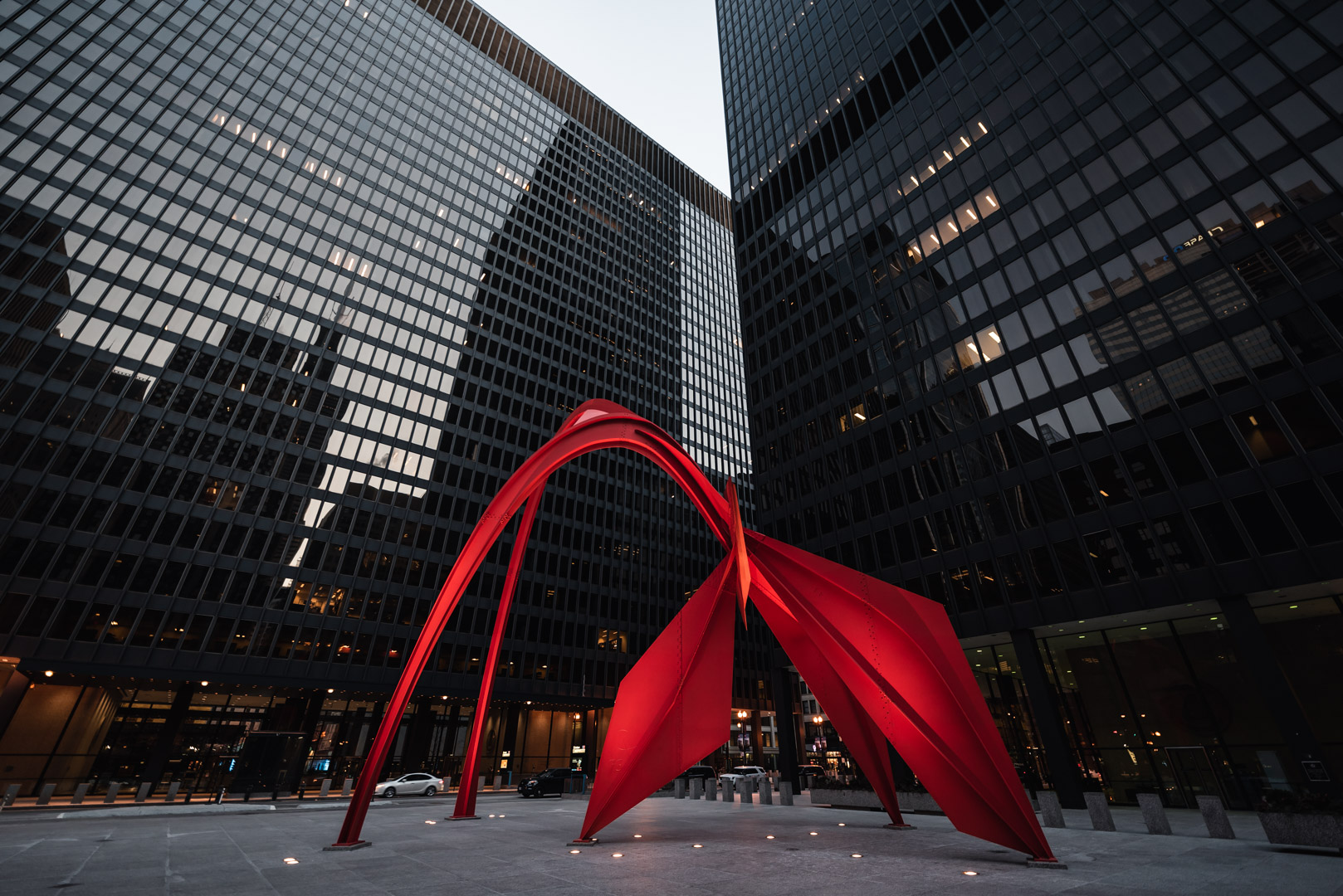 Calder's Flamingo Chicago The Loop Urban Street Chicago City Illinois Government Federal Plaza
