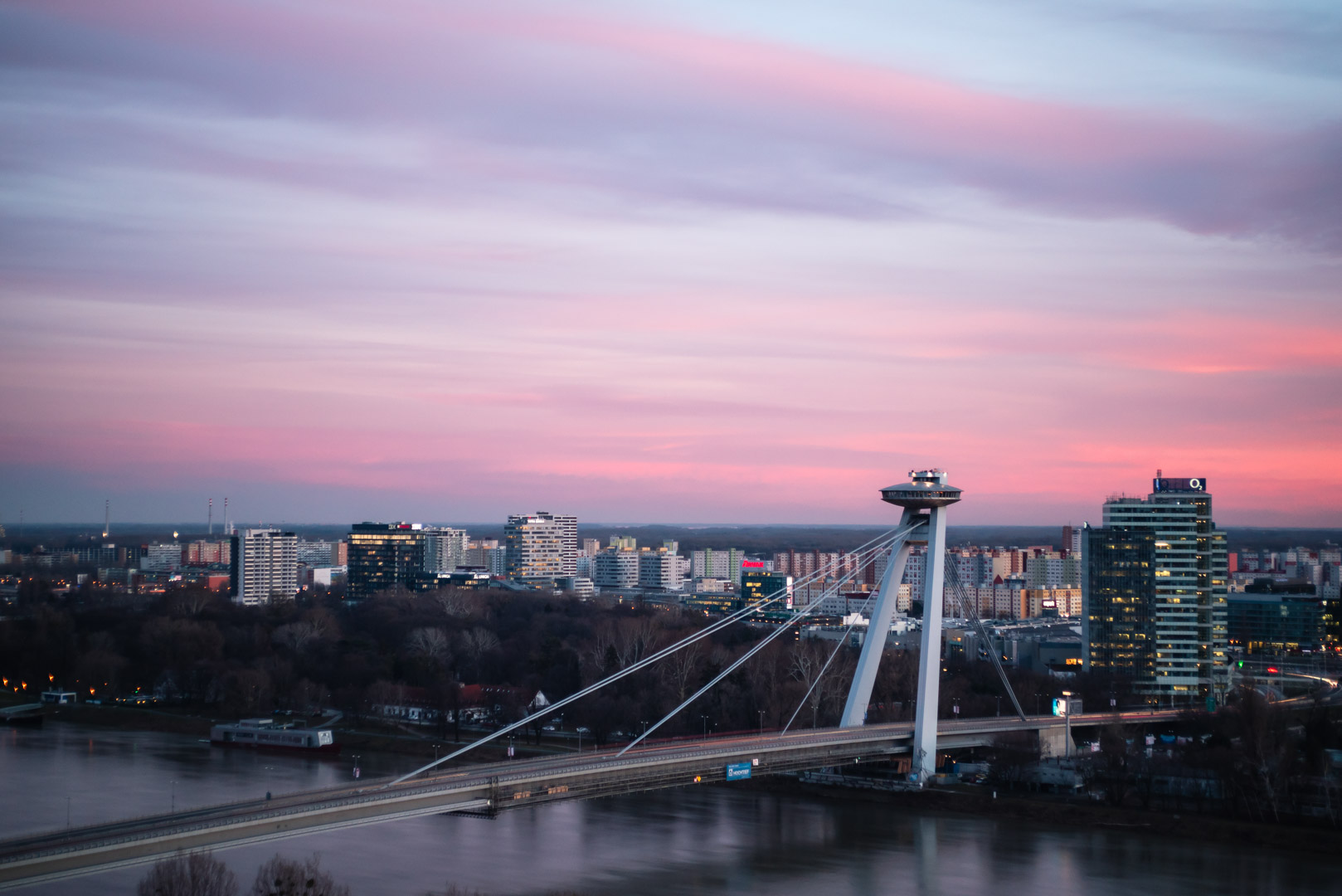 Bridge Sunset UFO Bridge Most SNP Bratislava Slovakia Urban City Slovakia Urban City Eastern Europe