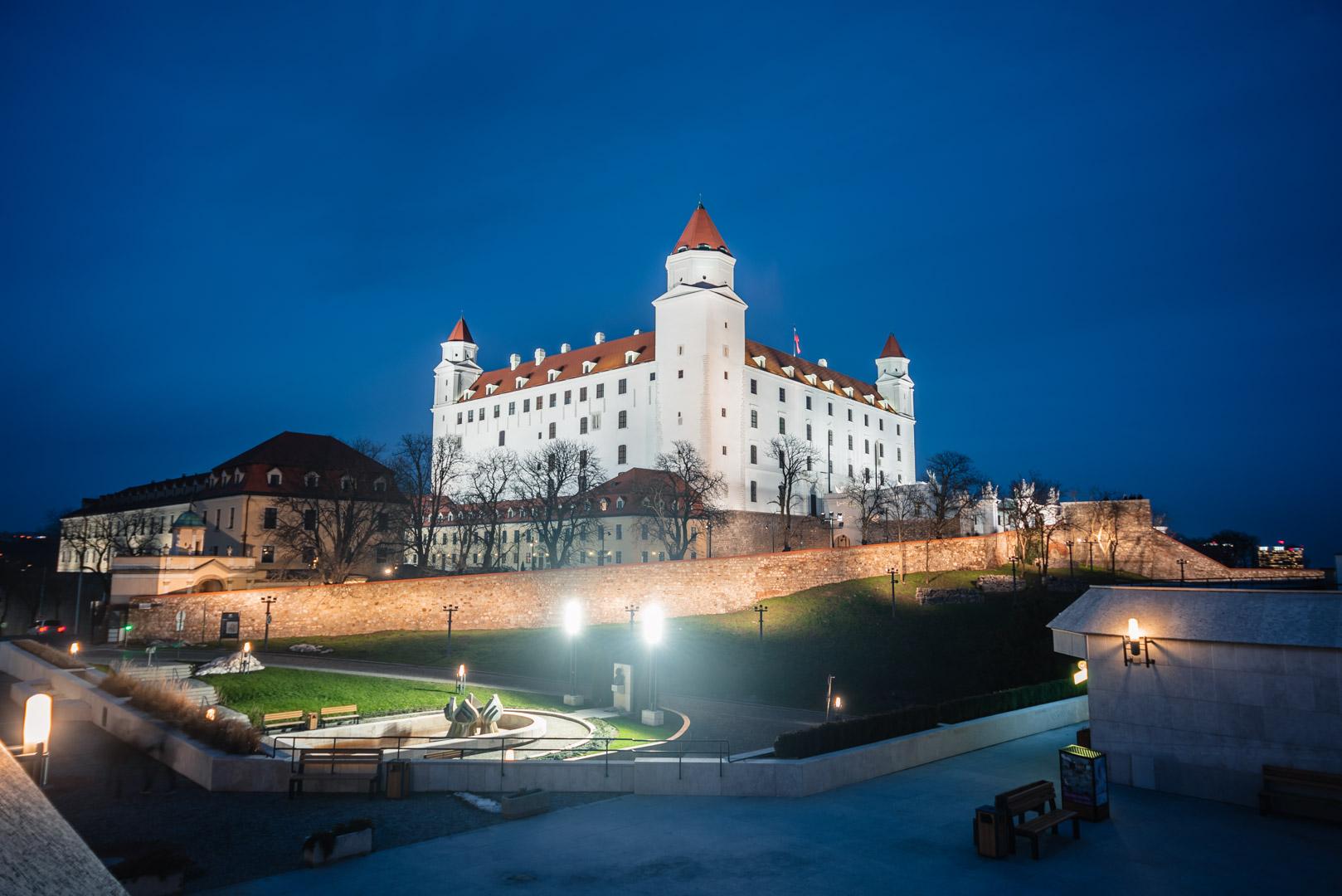 Bratislava Castle Blue Hour Night Long Exposure Gothic Slovakia Urban City Eastern Europe