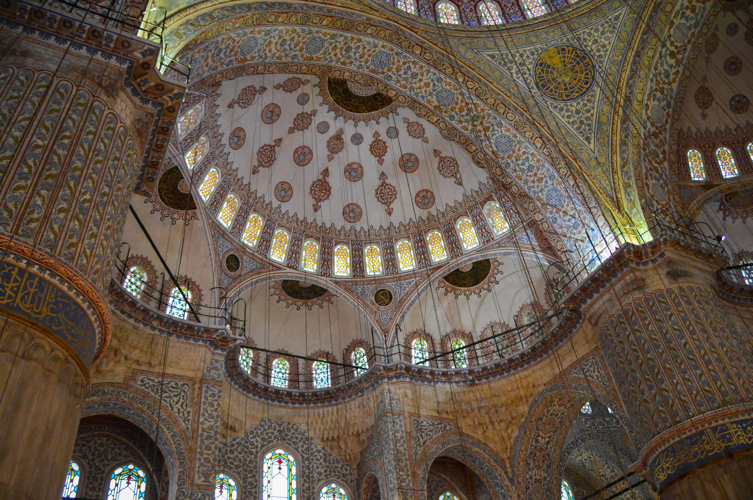 Blue Mosque interior Mosaic Tile Muslim Ottoman Empire Architecture Istanbul Turkey