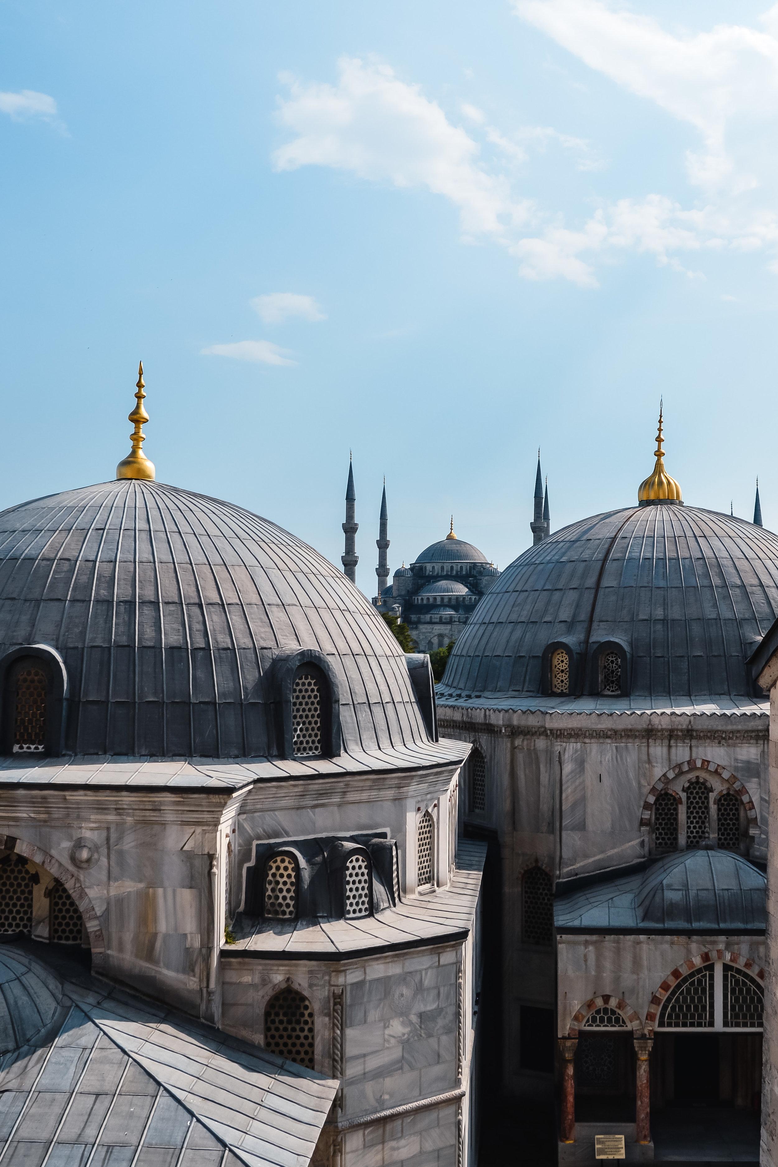 Blue Mosque Minaret Sunset Blue Sky Muslim Ottoman Empire Architecture Istanbul Turkey