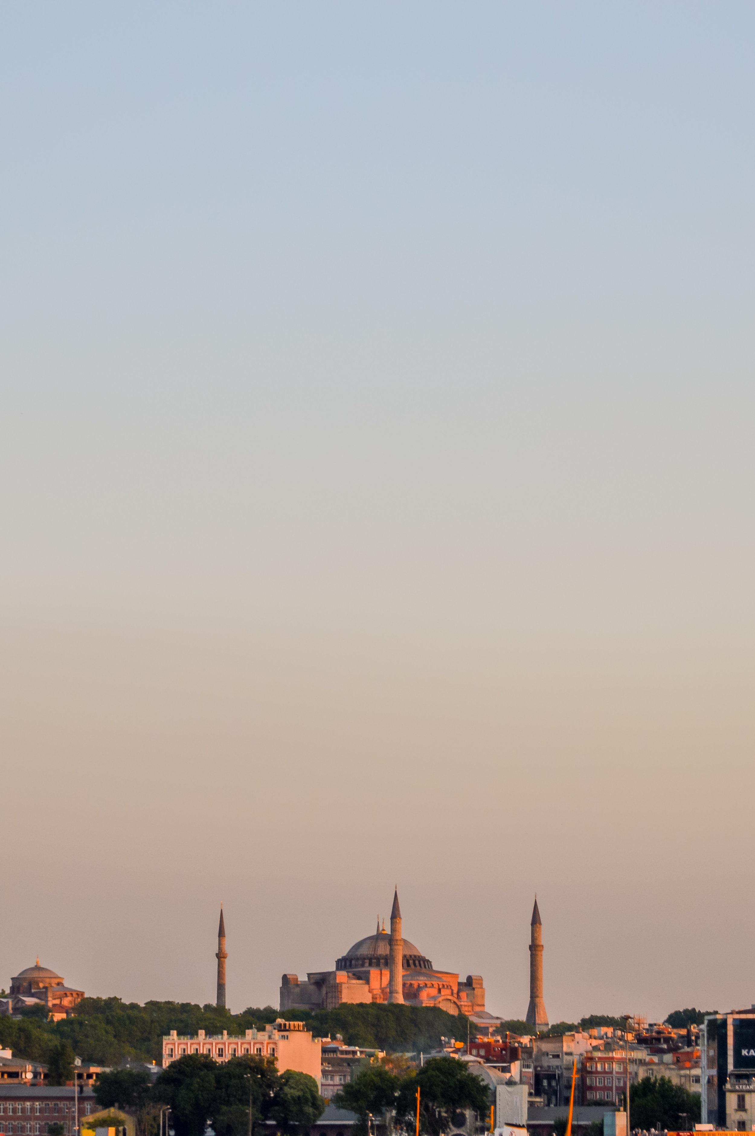 Hagia Sophia Mosque Minaret Sunset Blue Sky Muslim Ottoman Empire Architecture Istanbul Turkey