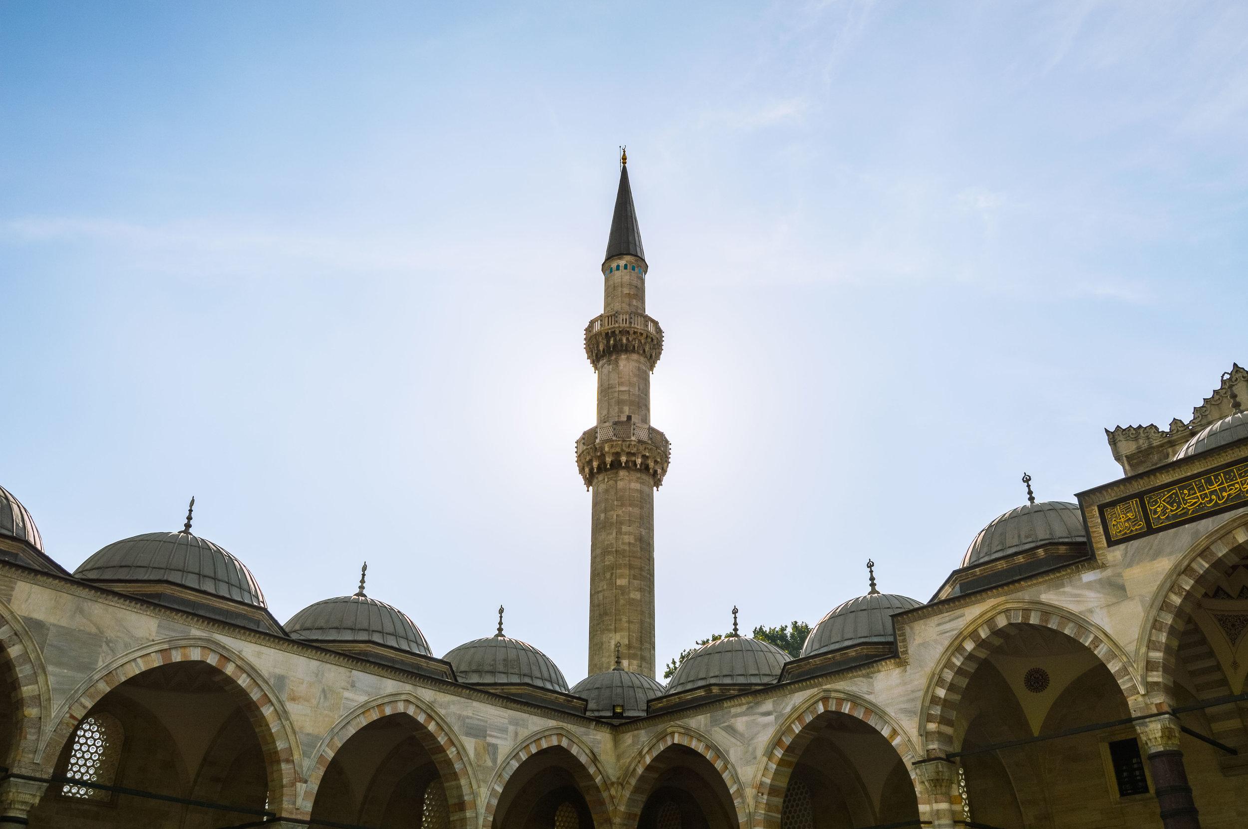 Süleymaniye Mosque Minaret Sunset Blue Sky Muslim Ottoman Empire Architecture Istanbul Turkey
