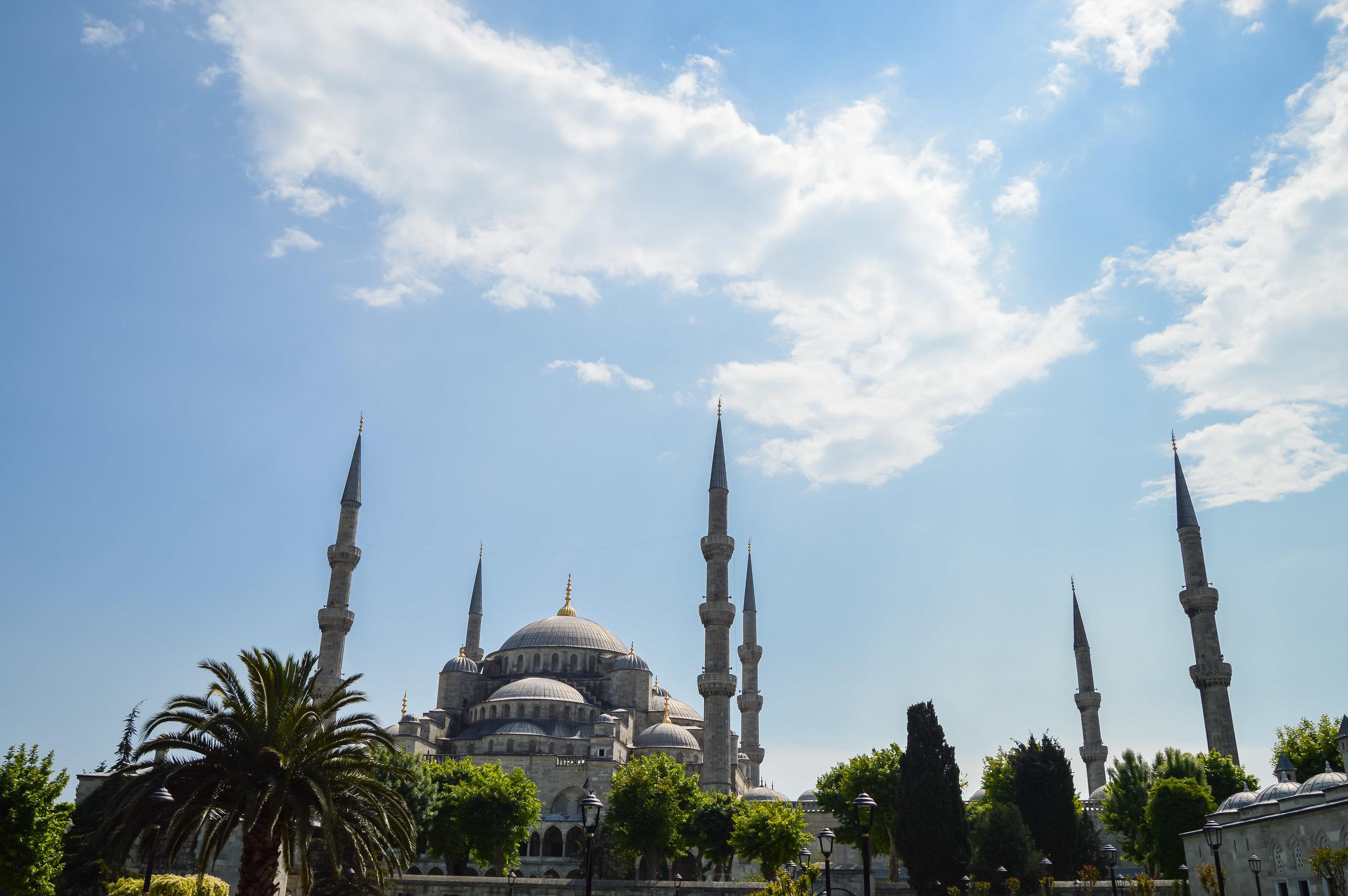 Blue Mosque Minaret Symmetry Sun Blue Sky Blue Mosque Muslim Ottoman Empire Architecture Istanbul Turkey