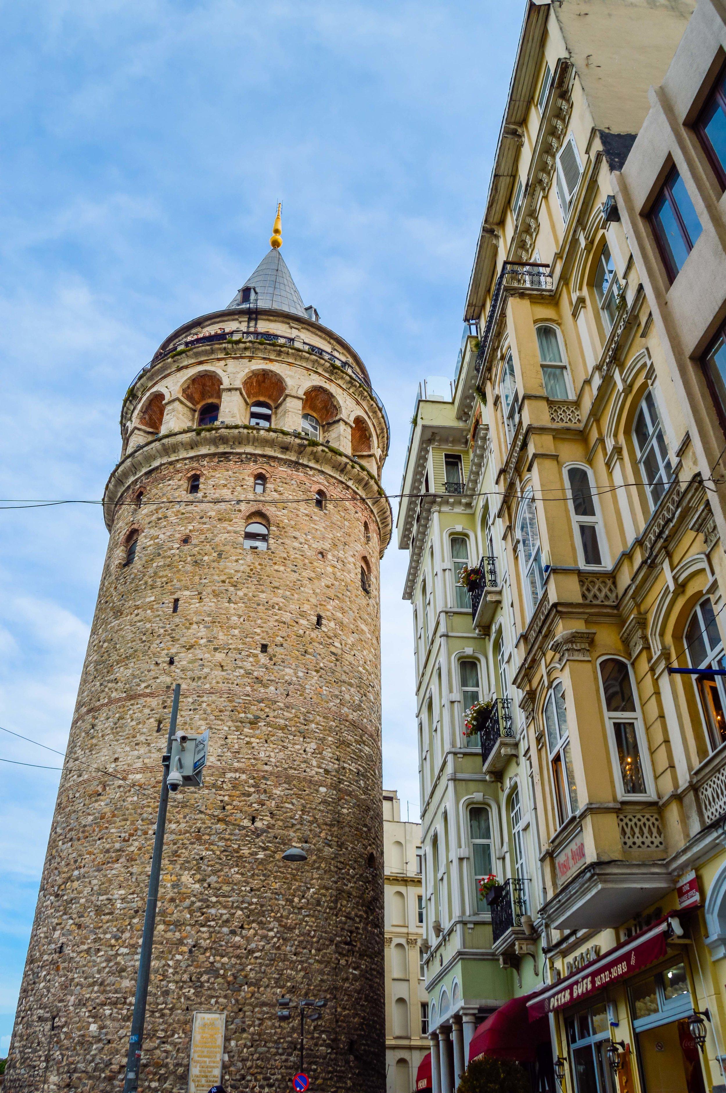 Galata Tower Rowhomes Skyline Blue Sky Muslim Ottoman Empire Medieval Architecture Istanbul Turkey