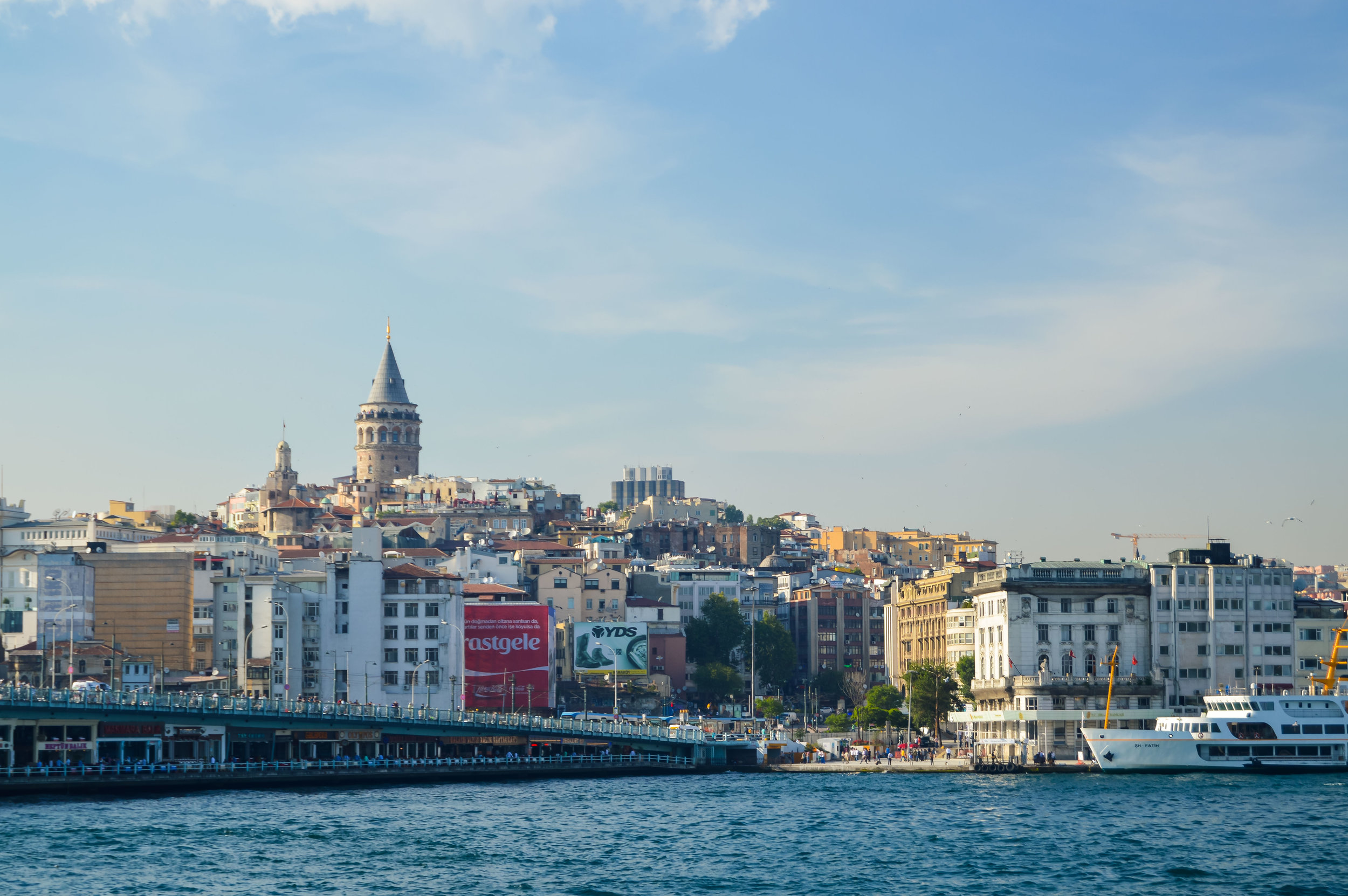 Galata Tower Rowhomes Skyline Bosporus Bosphorus Blue Sky Muslim Ottoman Empire Architecture Istanbul Turkey