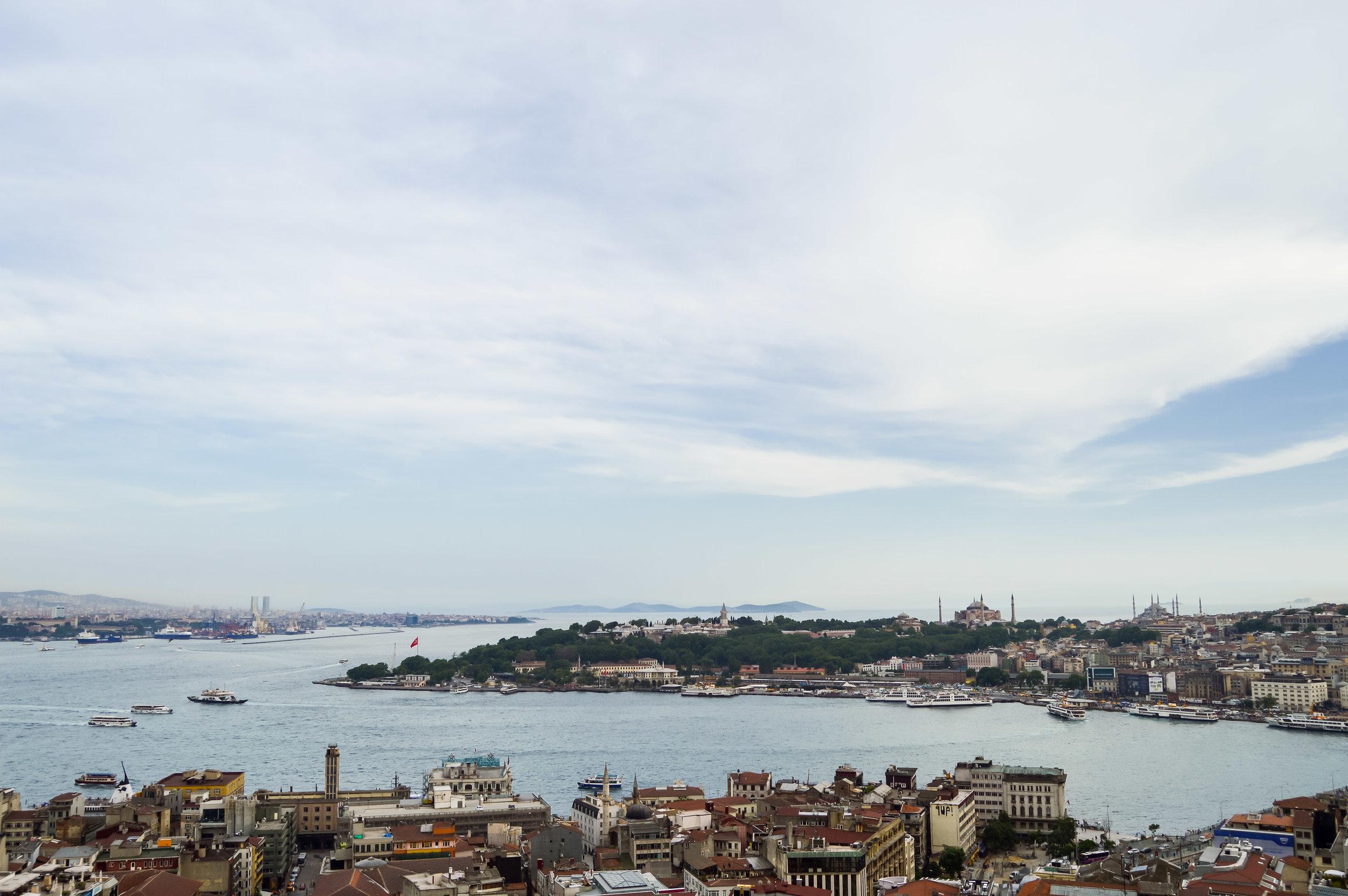 View from Galata Tower Rowhomes Mosques Skyline Bosporus Bosphorus Blue Sky Muslim Ottoman Empire Architecture Istanbul Turkey