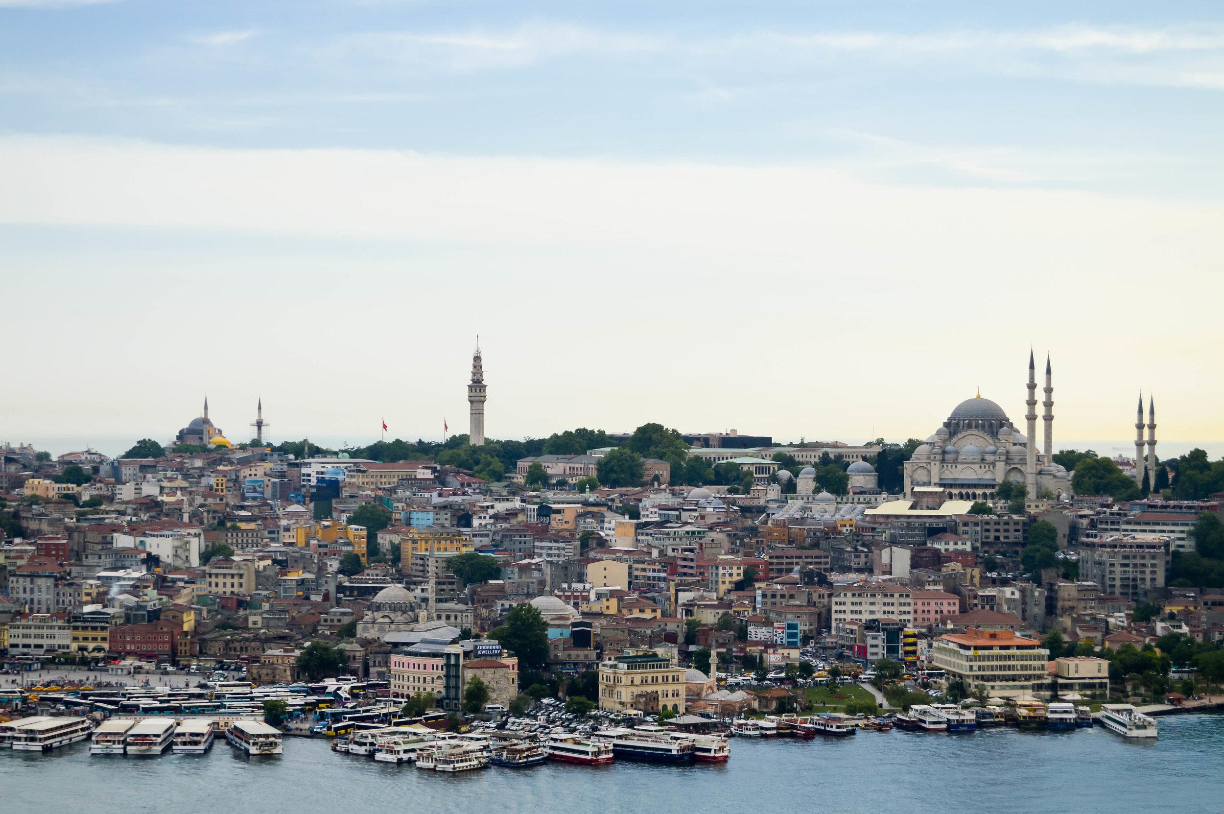 View from Galata Tower Rowhomes Mosques Skyline Bosporus Bosphorus Blue Sky Muslim Ottoman Empire Architecture Istanbul Turkey Blue Mosque Hagia Sophia