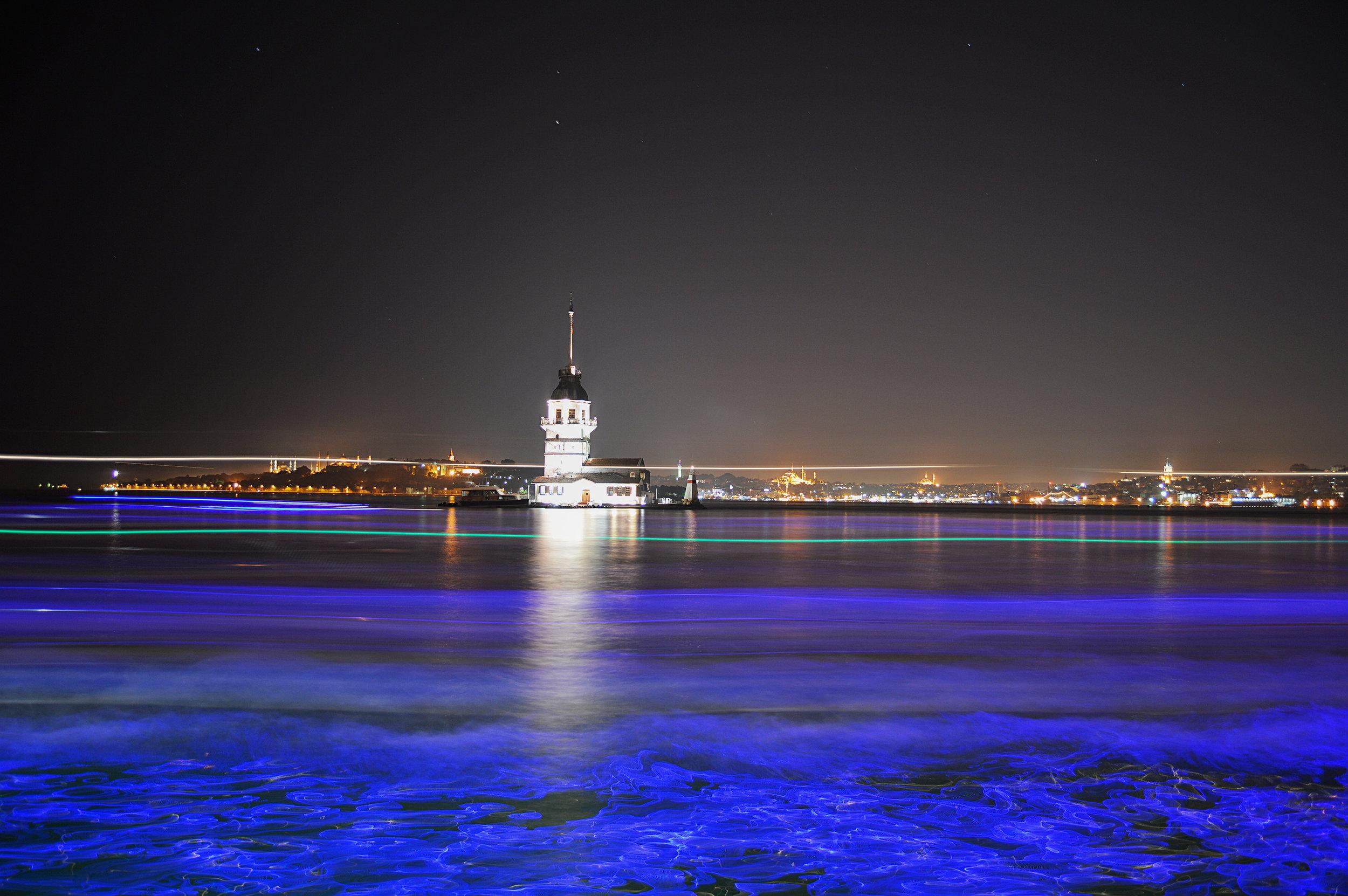 Maiden's Tower Skyline Bosporus Bosphorus Night Photography Long Exposure Sky Muslim Ottoman Empire Architecture Istanbul Turkey
