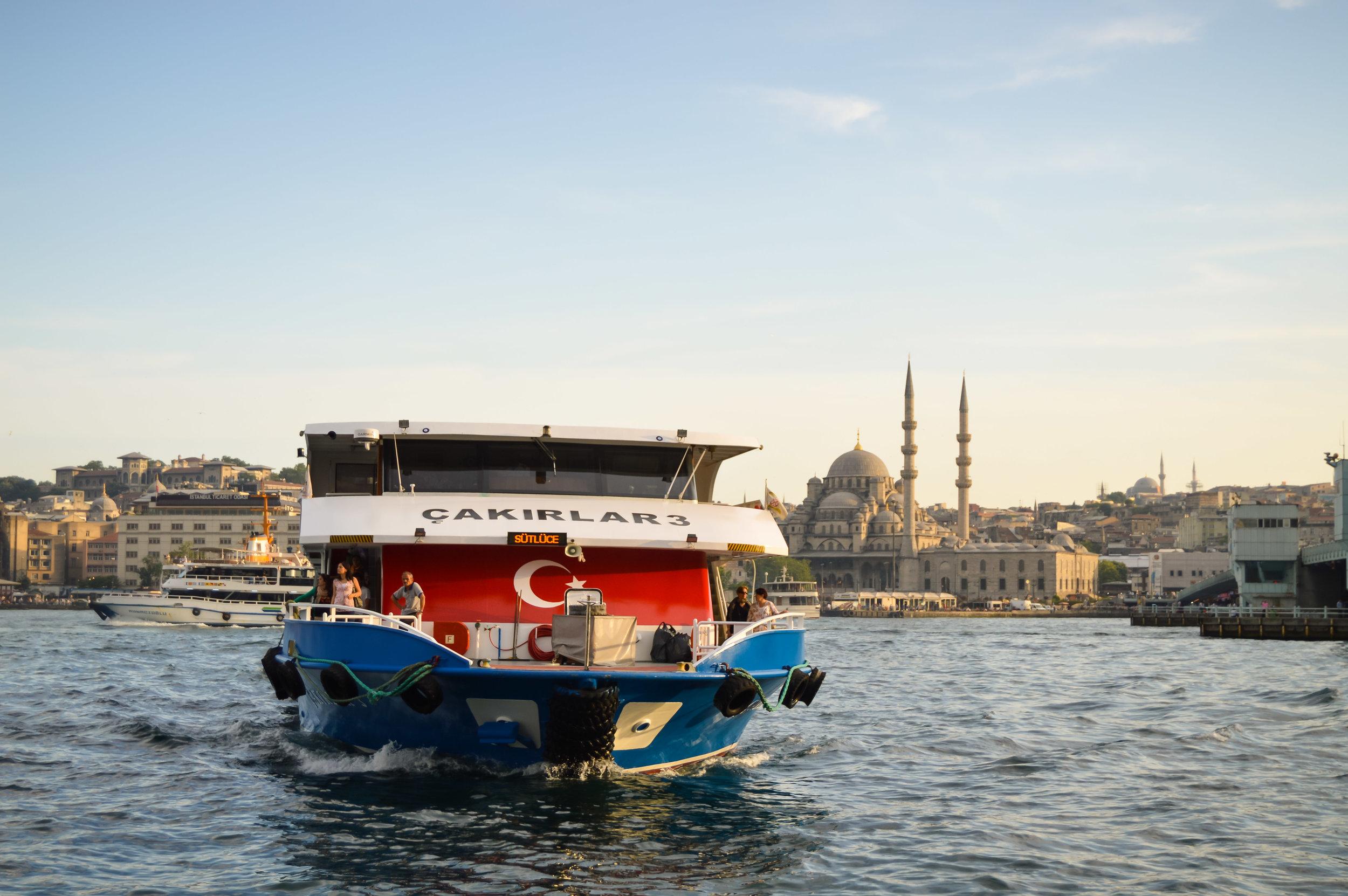 View from Karaköy Ferry Station Rowhomes Mosques Skyline Bosporus Bosphorus Blue Sky Muslim Ottoman Empire Architecture Istanbul Turkey Blue Mosque Hagia Sophia