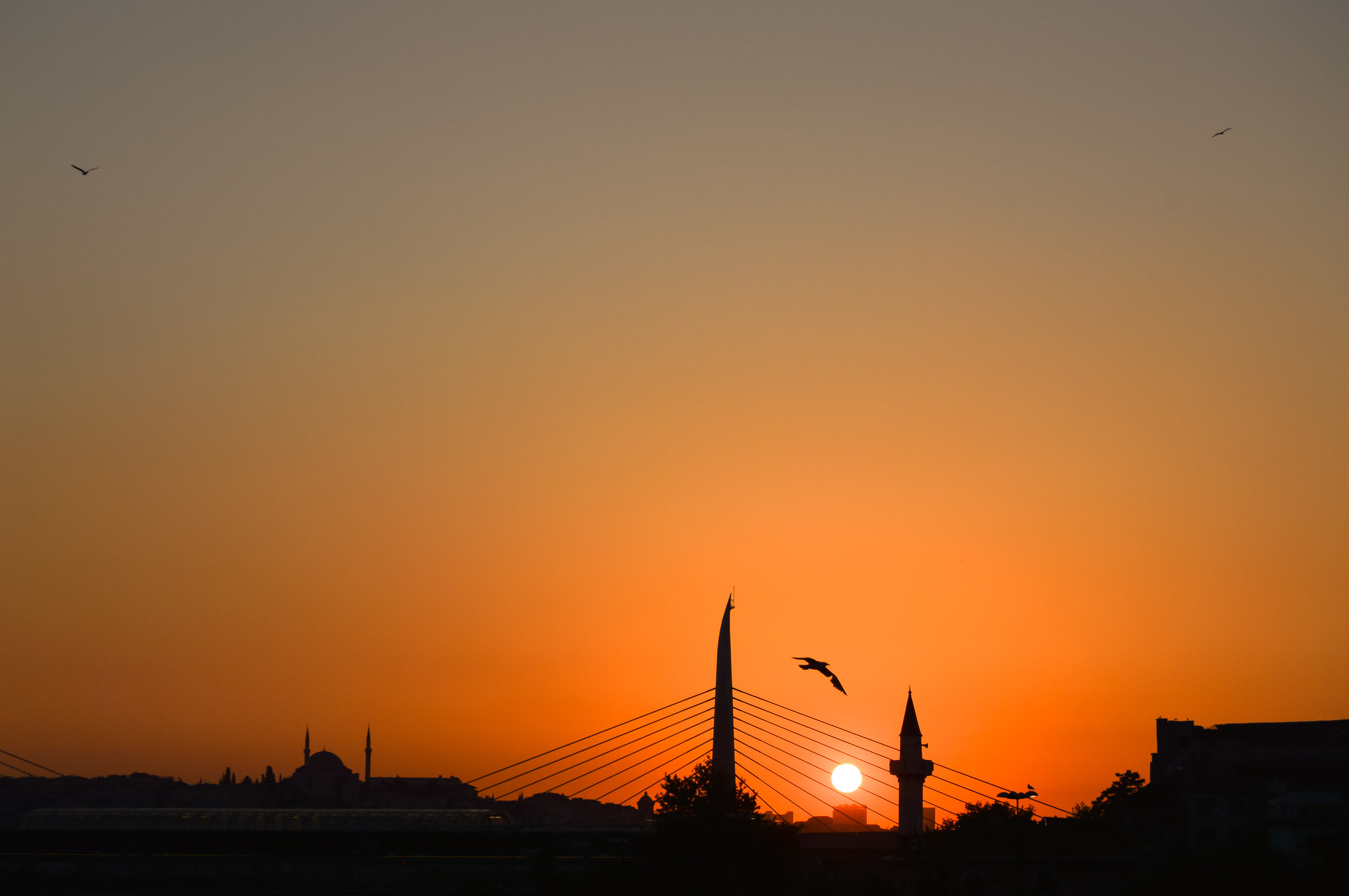 View Golden Horn Metro Bridge Rowhomes Mosques Skyline Bosporus Bosphorus Blue Sky Muslim Ottoman Empire Architecture Istanbul Turkey Blue Mosque Hagia Sophia