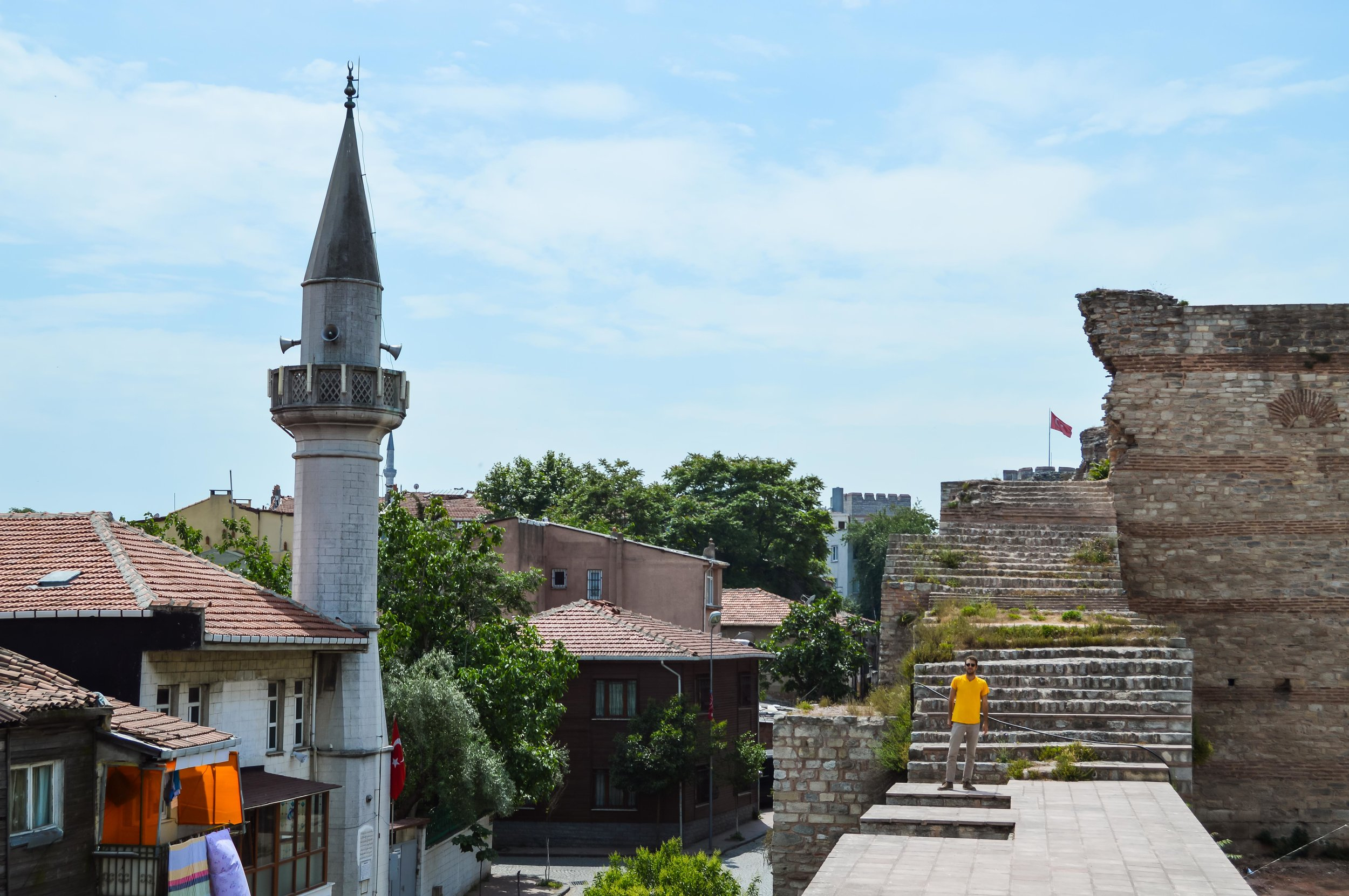 View from Walls of Constantinople Rowhomes Mosques Skyline Bosporus Bosphorus Blue Sky Muslim Ottoman Empire Architecture Istanbul Turkey