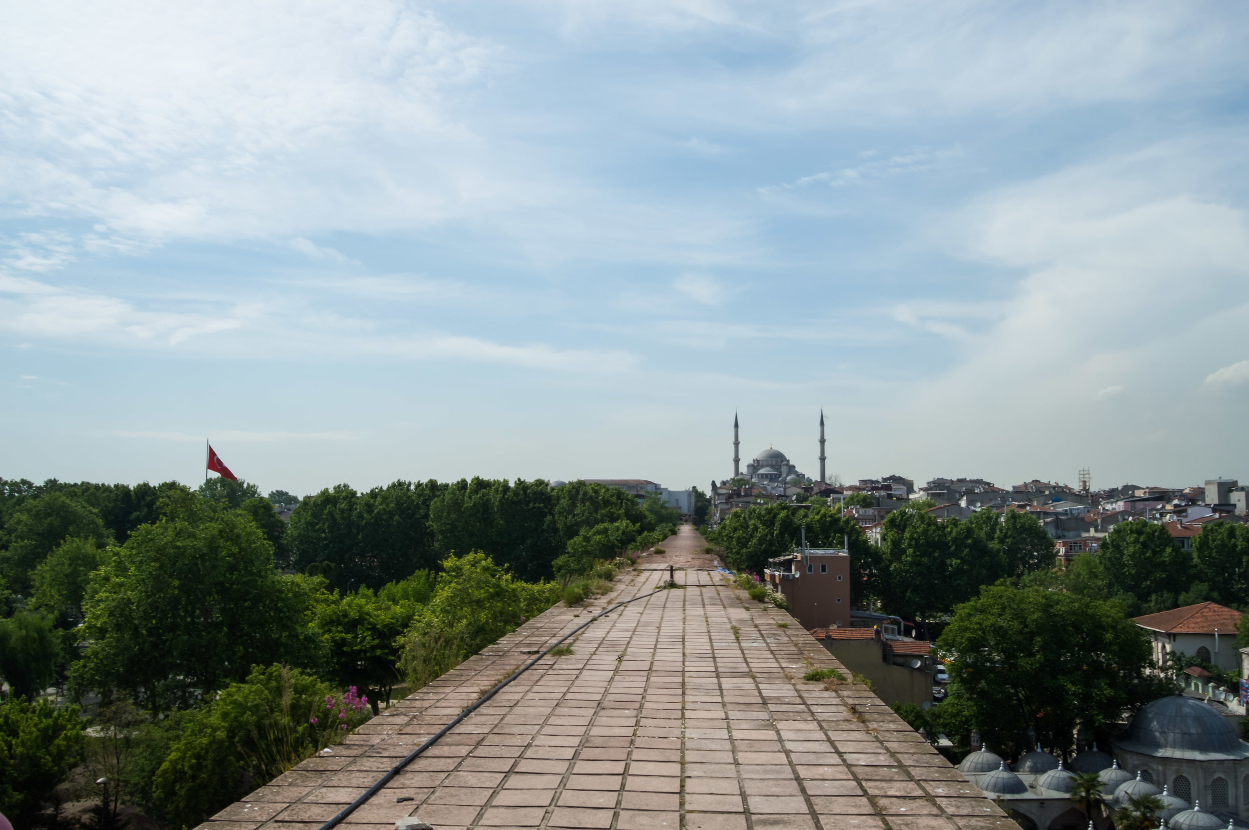 View from Valens Aqueduct Rowhomes Mosques Skyline Blue Sky Muslim Ottoman Empire Architecture Istanbul Turkey