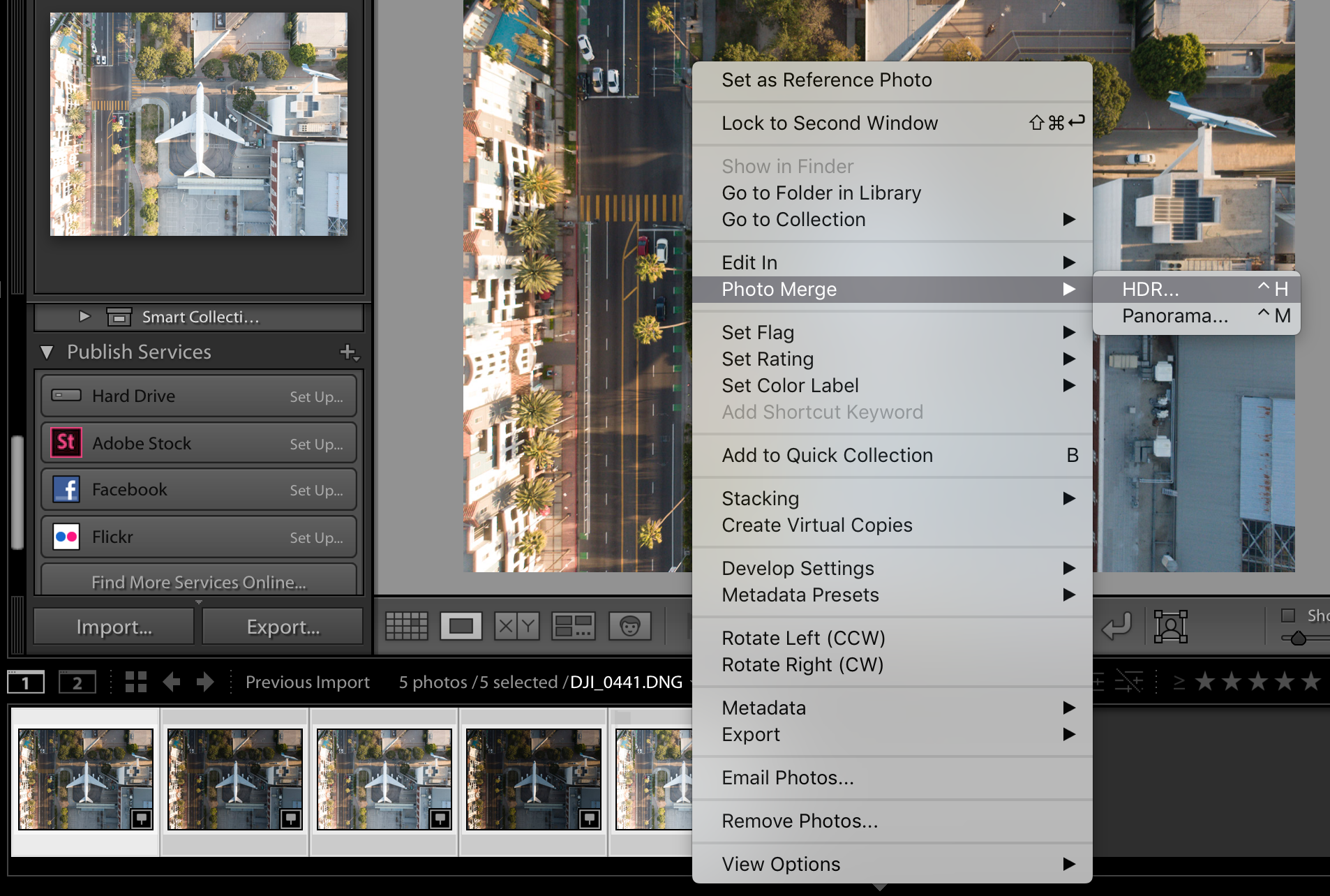 Photo Merge to HDR Settings Lightroom