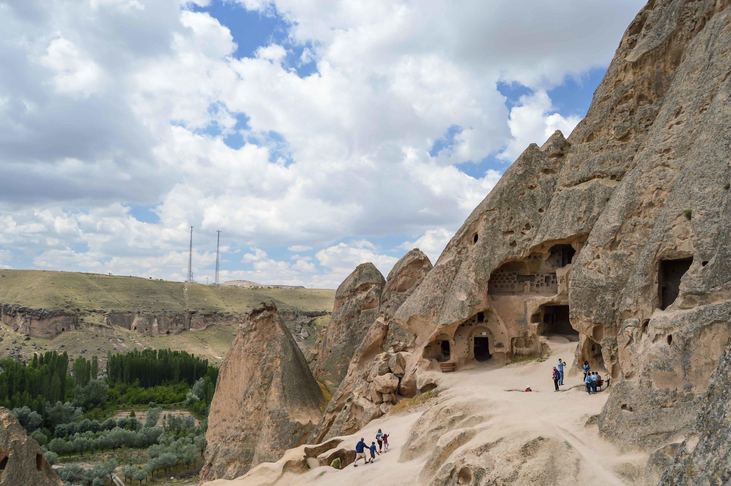 Selime Monastery Caves  Cave Dwellings Skyline Sunset Blue Sky Turkey Cappadocia Anatolia Göreme Desert Arid