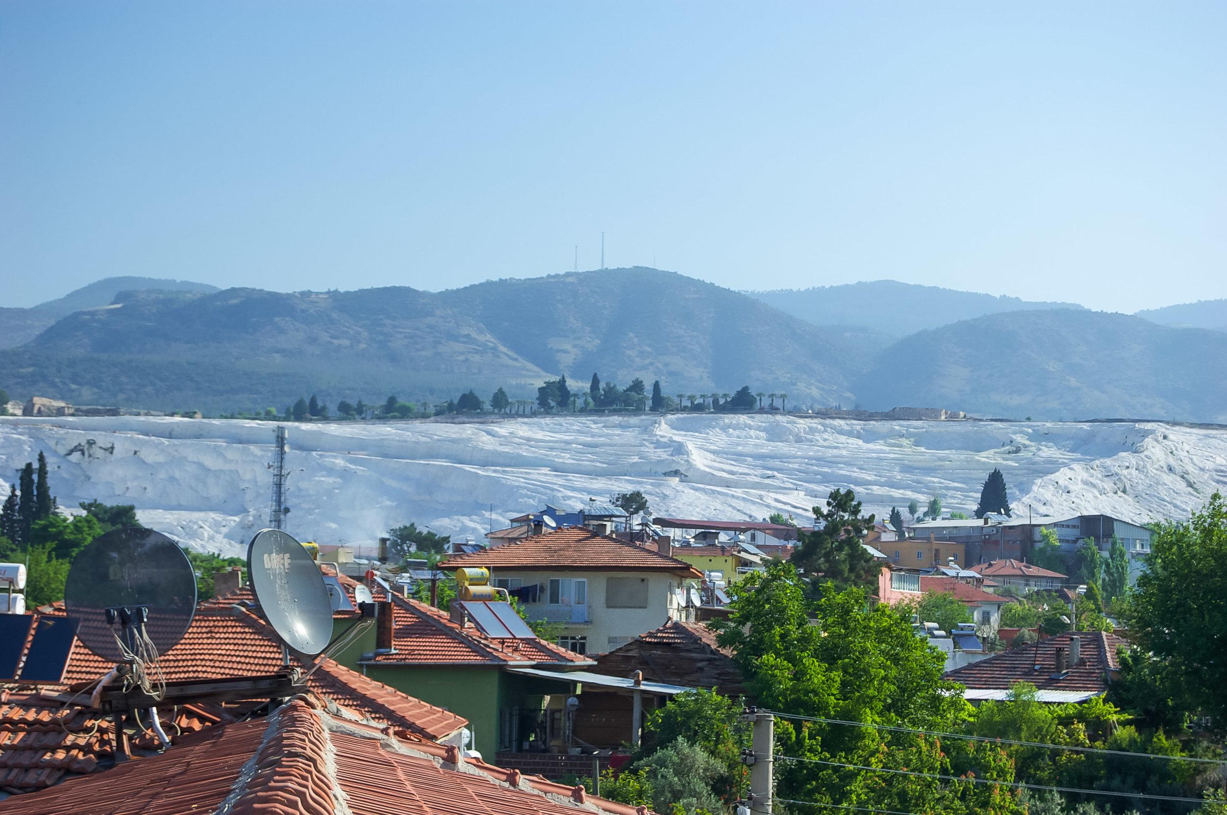 Travertines of Pamukkale Roman Architecture Blue Sky Turkey
