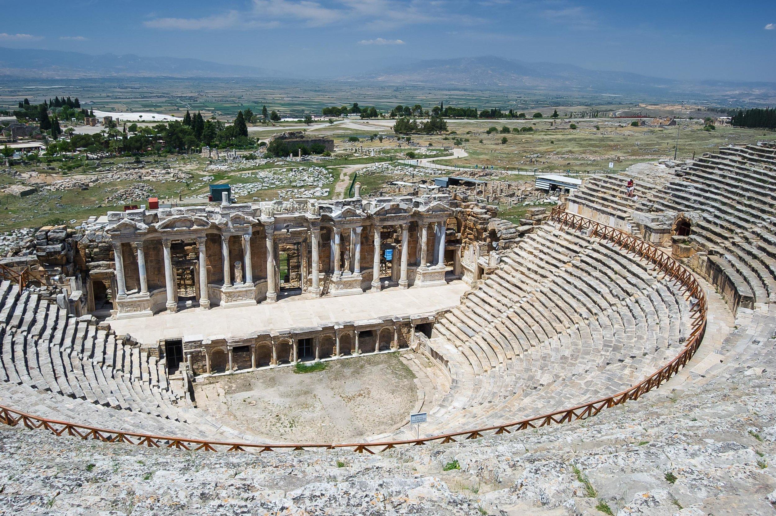 Hierapolis of Pamukkale Roman Architecture Blue Sky Turkey