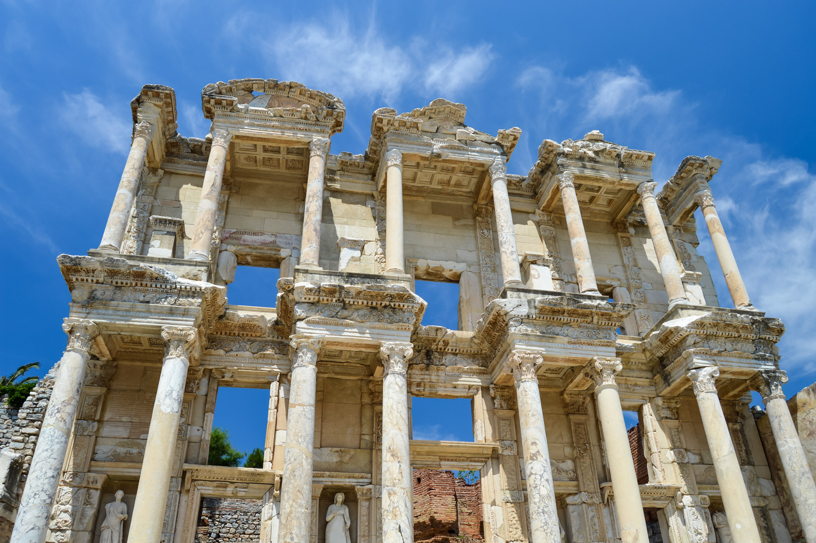 Roman Architecture City of Ephesus Library of Celsus Blue Sky Turkey