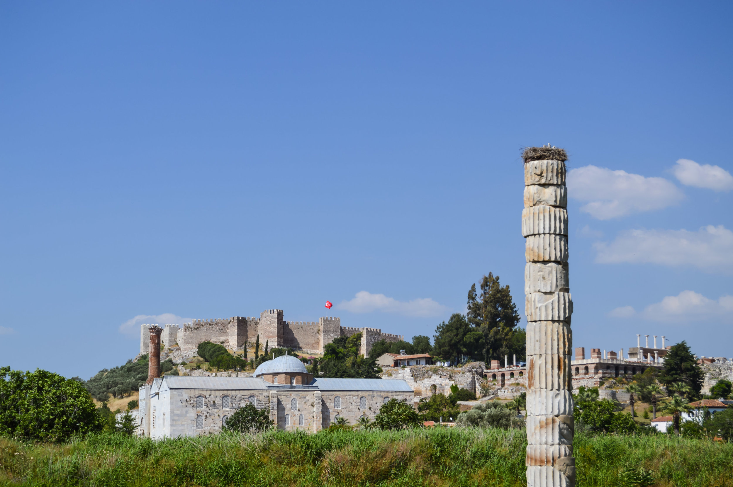 Roman Architecture Temple of Artemis City of Ephesus Blue Sky Turkey