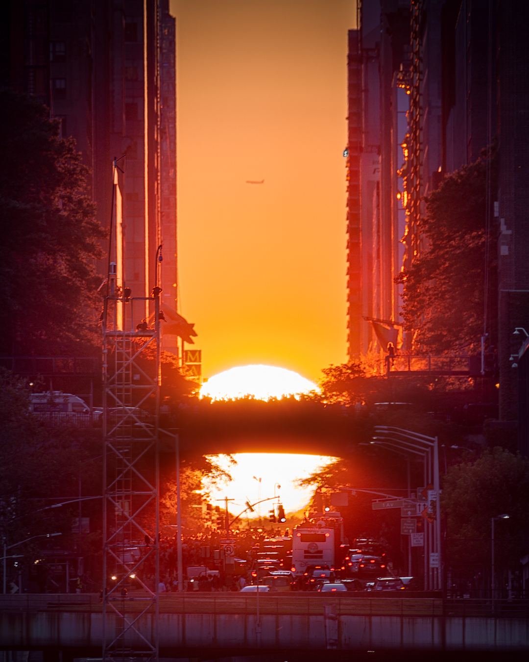Photo captured by  Ivan Ferrera  during the  July 12th, 2019  Manhattanhenge from Gantry Plaza State Park, Long Island City. A clear horizon allowed the sun's full disc to appear atop the horizon.