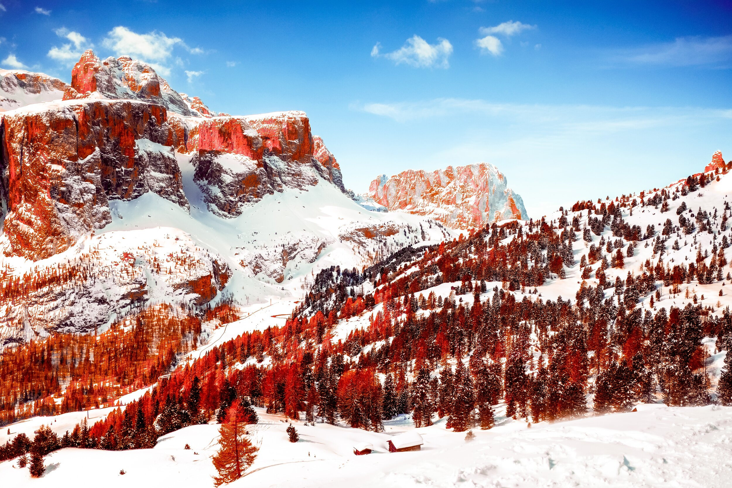 Dolomites Italy Mountain Infrared Snow