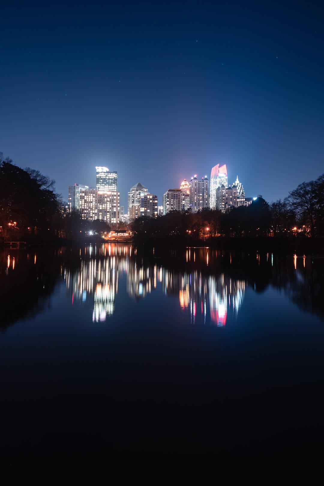 Piedmont Park Midtown Reflection skyline atlanta