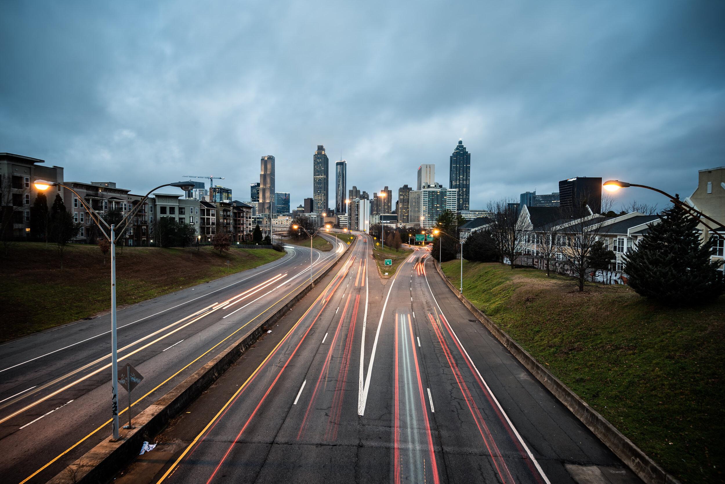 Jackson Street Bridge Atlanta sunset Dawn