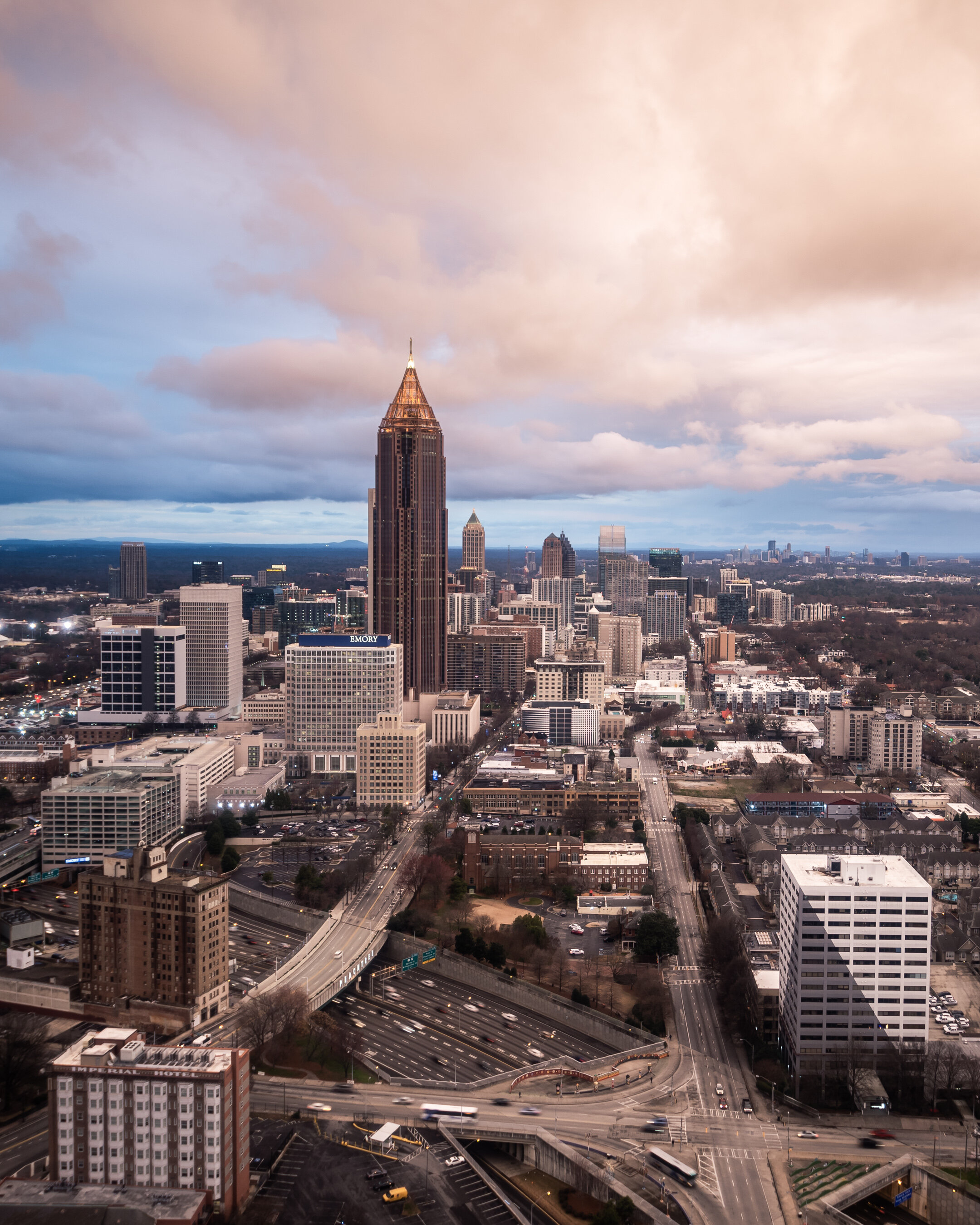 Atlanta North Skyline Bank of America Sunrise Top of Marriott Marquis