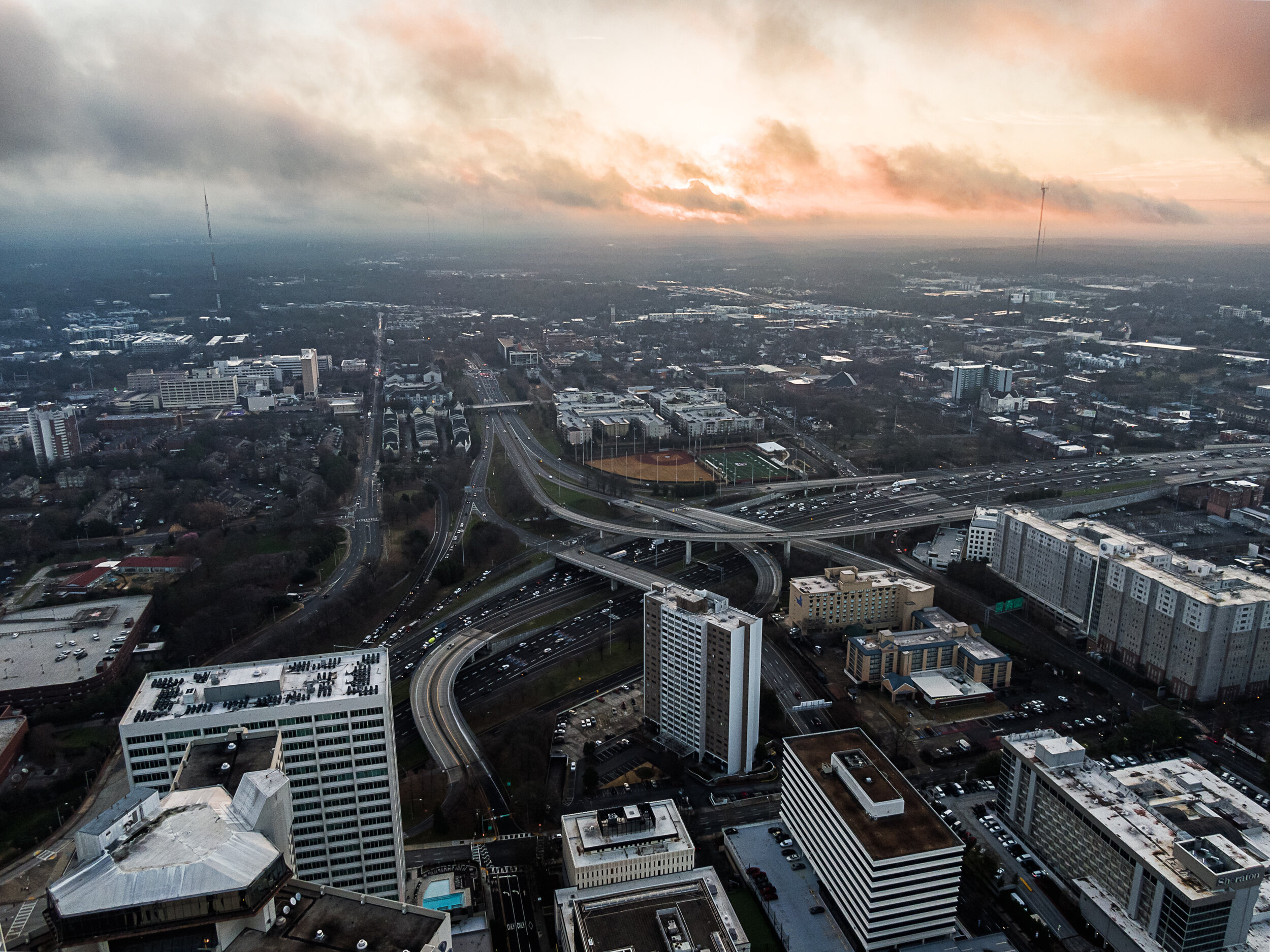 Jackson Street Bridge Lookback Atlanta North Skyline Bank of America Sunrise Top of Marriott Marquis