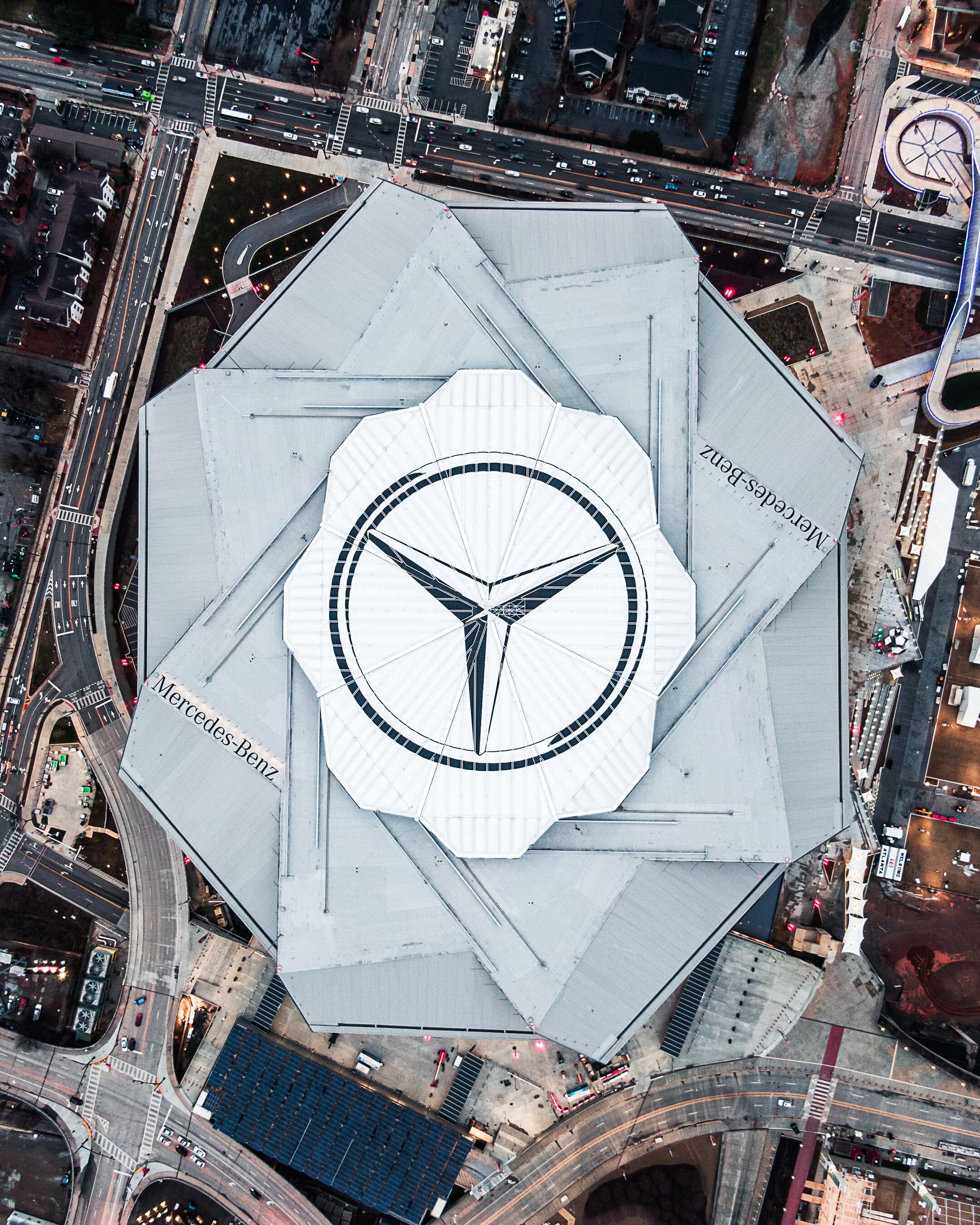 Top Down of Mercedes-Benz Stadium Aerial Atlanta