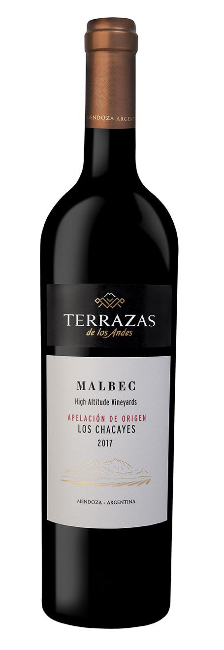 Terrazas de los Andes Apelación de Origen Los Chacayes Malbec - Este vino proviene de viñedos ubicados a 1200 m. y es un tributo a esta tierra excepcional que se extiende en las alturas del Valle de Uco. Es un terruño de suelo rocoso y gran amplitud térmica. Esta expresión pura de Malbec revela un carácter intenso, especiado y estructurado con un estilo equilibrado y elegante.En el Valle de Uco si bien los suelos son más arenosos y rocosos, y menos profundos. La madurez es más lenta porque las temperaturas son más bajas que en Lujan de Cuyo.Altitud: 1.200 metros sobre el nivel del mar.Edad de los viñedos: plantados en 2012.Composición del suelo:• Textura de franco arenosa a arenosa y con recubrimiento calcáreo.• Profundidad de 0,30 luego canto rodado de mediano a grande.• Heterogéneo.• Baja capacidad de retención.Color: rojo profundo con destellos moradosAroma: de una intensa expresión floral y de frutos negros. Se destacan los aromas de moras y grosellas combinadas con notas especiadas y hierbas aromáticas que reflejan la frescura de la altura.Boca: es muy vibrante, potente y concentrado con un lado salvaje propio de la zona. Taninos con mucha presencia y carácter enmarcados con una acidez que le da longitud y frescura.Puntaje: James Suckling 94 pts (2017)