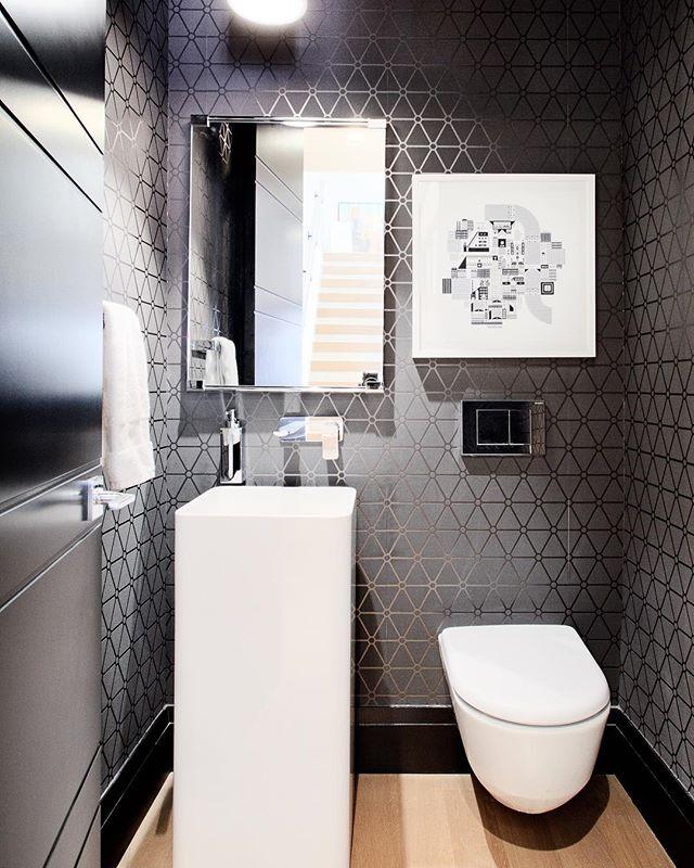 Black is the new black? This small bath packs quite the punch! @royalflushboutique  @mitchelldesignhouse @stewartdrummondstudios @graff_designs @aquabrass @laufenbathrooms @sujataphoto_architecture @banburylanedesign @emtek #yycre #yycrealestate #powderroom #yychomes #yycdesign #yycbuilder #customhomebuilder #luxury #yycinteriordesign #luxuryhomes  #aquabrass #emtek