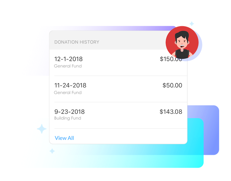 Manage recurring donations and payment methods, as well as view donation history. -