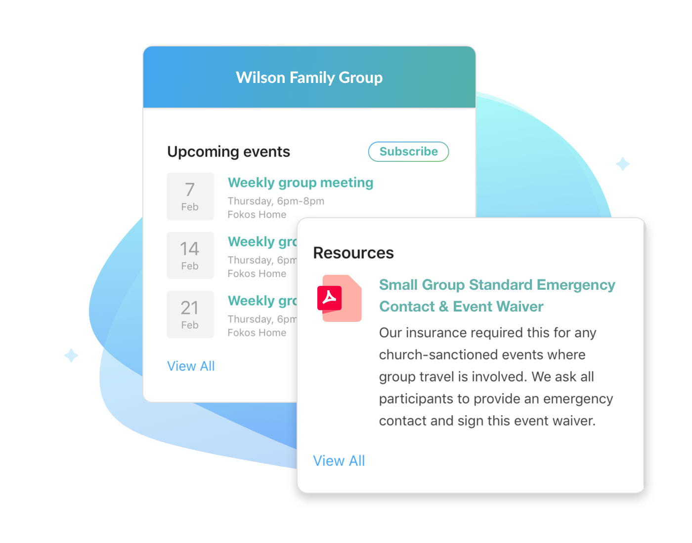 After becoming a member of a group, you can view the event calendar and shared resources. -