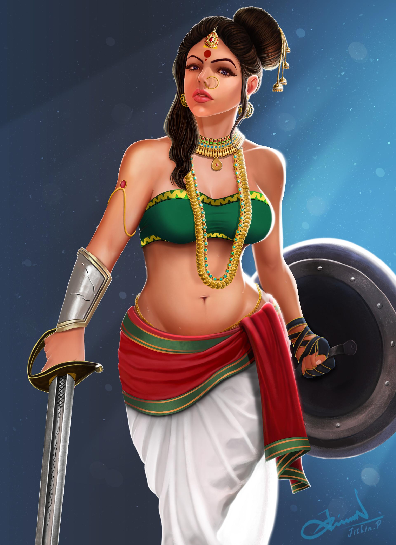Unniyaracha: The warrior woman  Artist: Jithinaryan https://www.artstation.com/jithinaryan