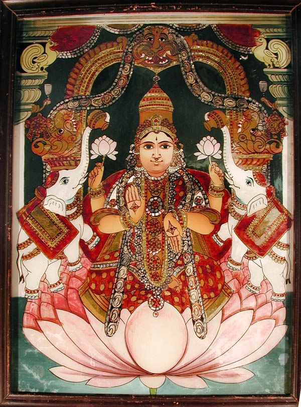 Painting of Shri Laxmi in San Diego Museum, accredited to the Court of Thanjavur. Source:  San Diego Museum Collection, Flickr