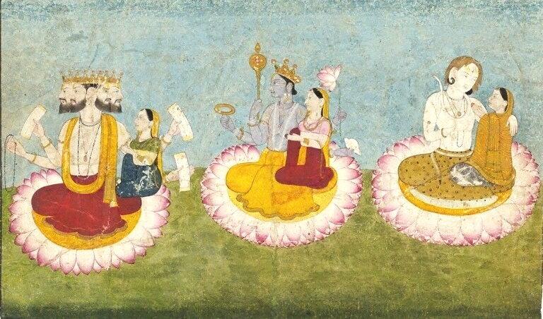 Brahma, Vishnu and Shiva seated on lotuses with their consorts, Saraswati, Lakshmi and Paravati respectively. ca 1770. Guler, India. Source:  Wikipedia