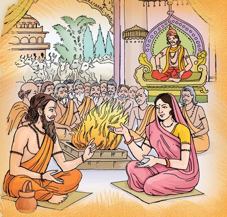 Rishi Yajnavalkya and Gargi Vachaknavi, the Brahmavadini, debating in King Janaka's court. Image:  BAPS