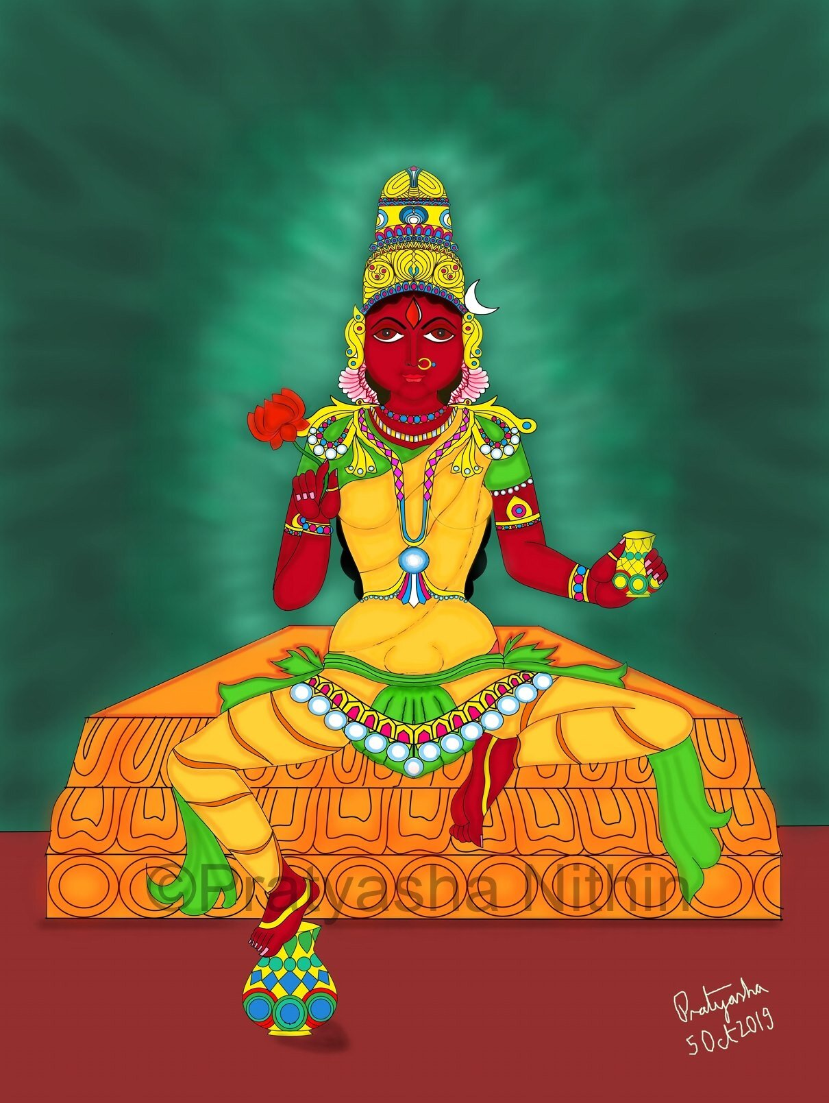 A beautiful depiction of Ma Tripurasundari by  Pratyasha Nithin