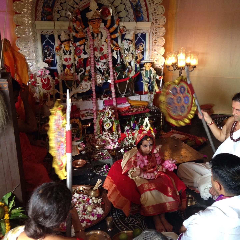 Girl child being worshipped as Kaumari, on the 9th day of Navratri. Image Credits:  Ekabhumi Elik